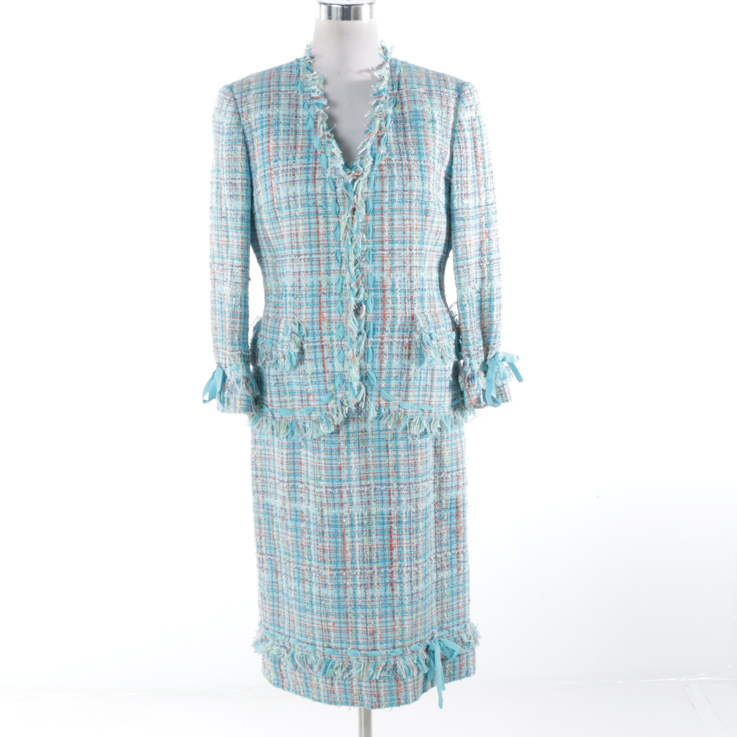 Women's Carlisle Tweed Dress Suit with Fringe Trim