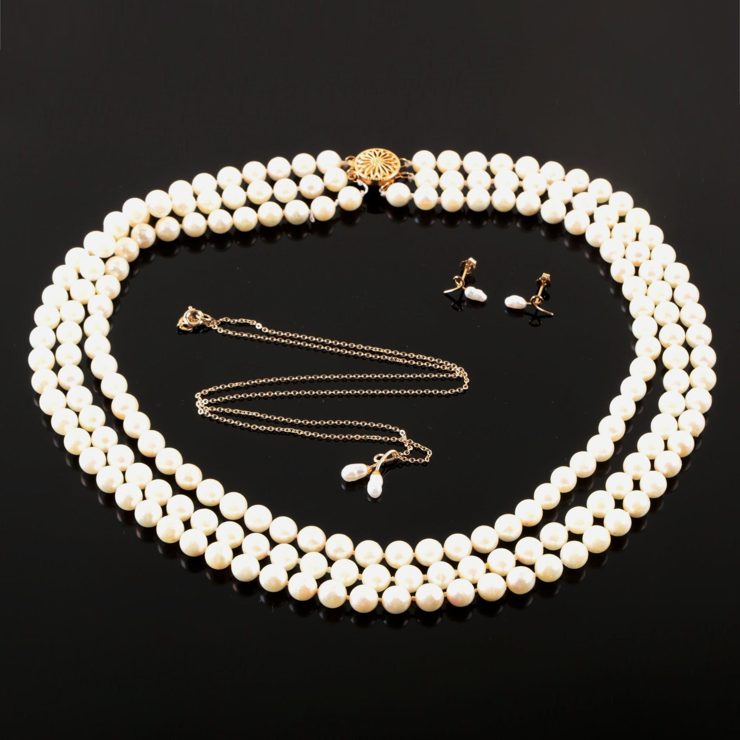 Gold Filled, Gold Tone Cultured Pearl Necklaces and Earrings Includes 14K Gold