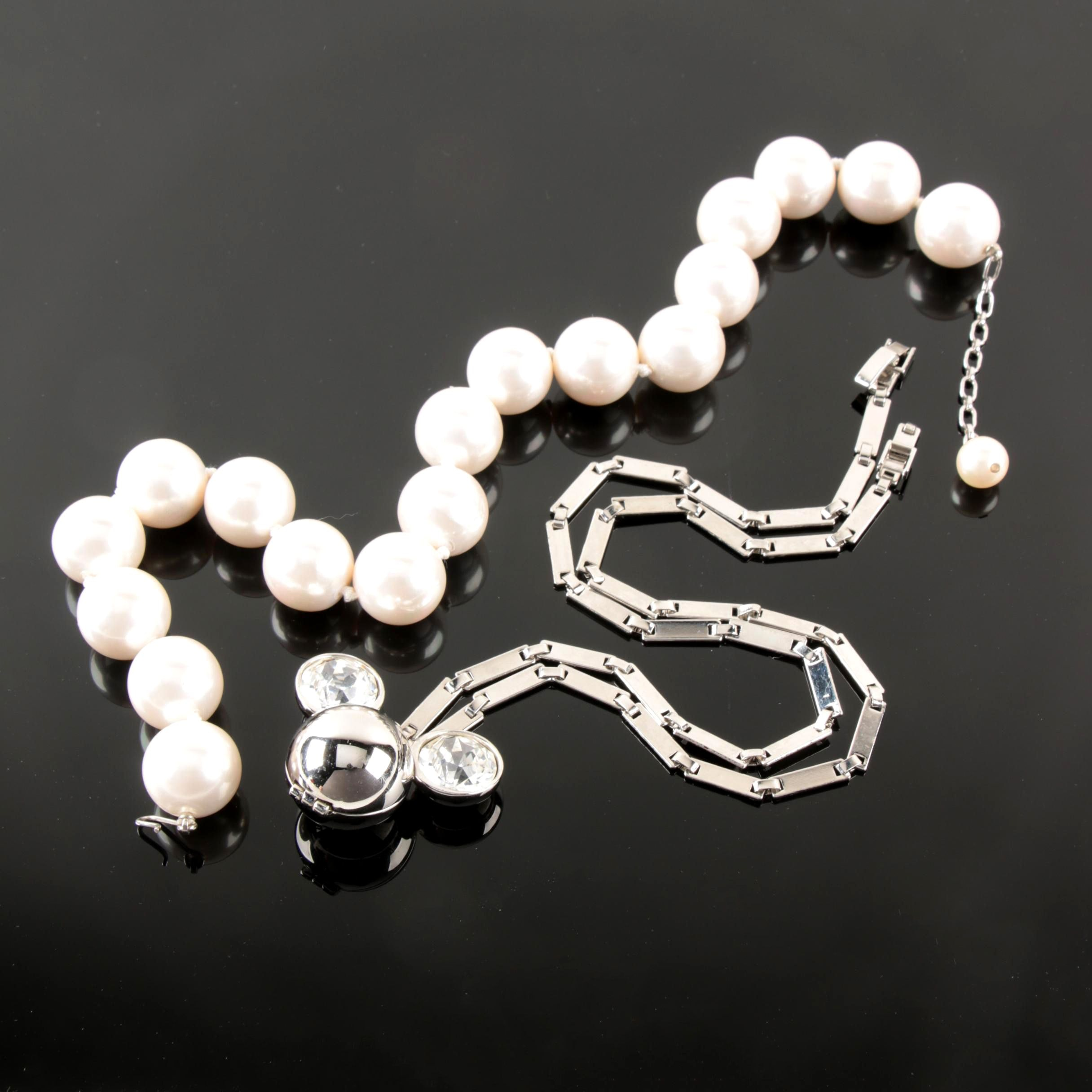 Costume Necklaces Including Disney and Imitation Pearl