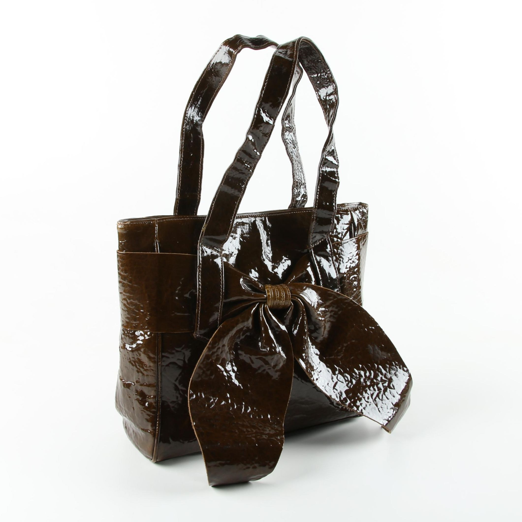 Susan Farber Crushed Patent Leather Tote