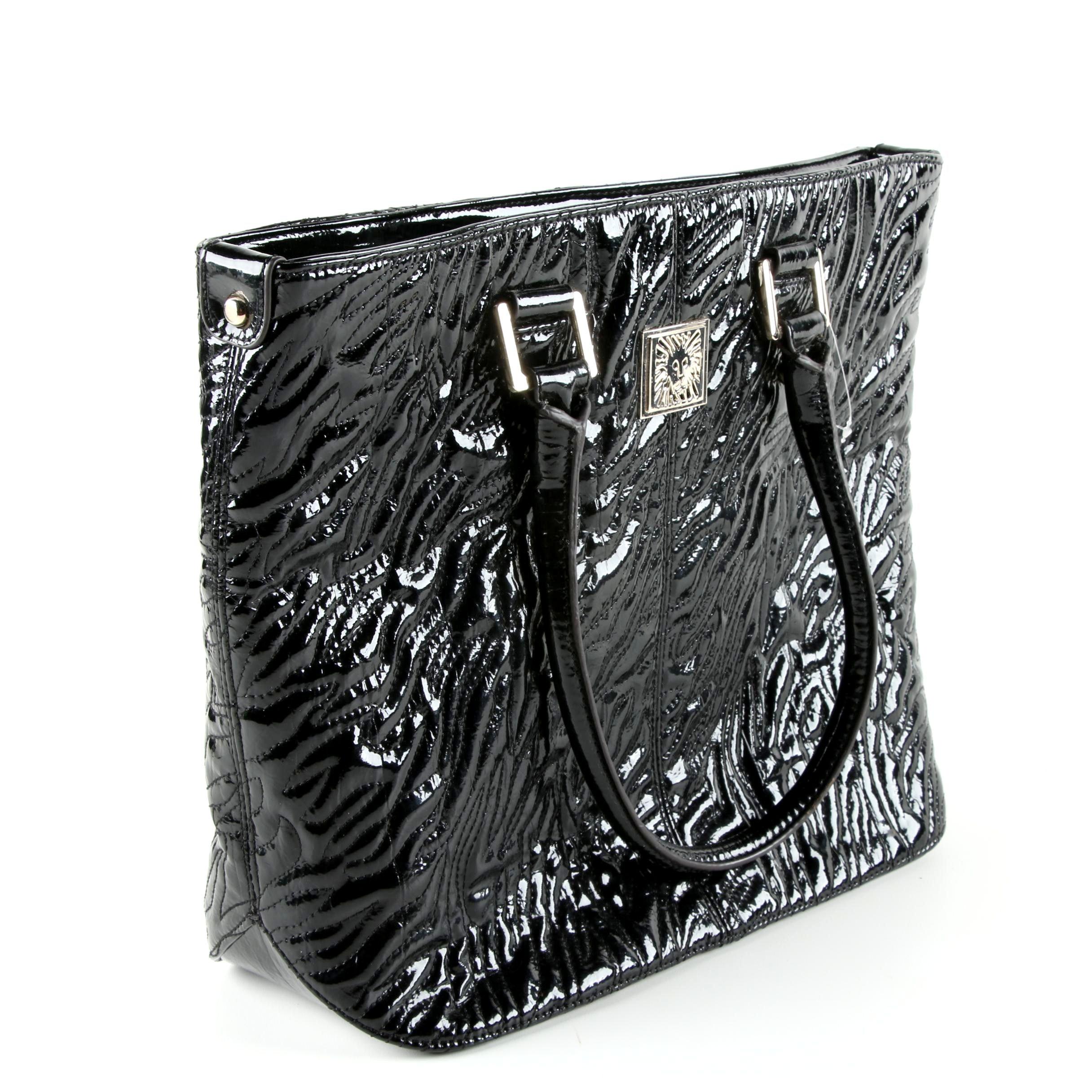 Anne Klein Glossy Black Tote Bag