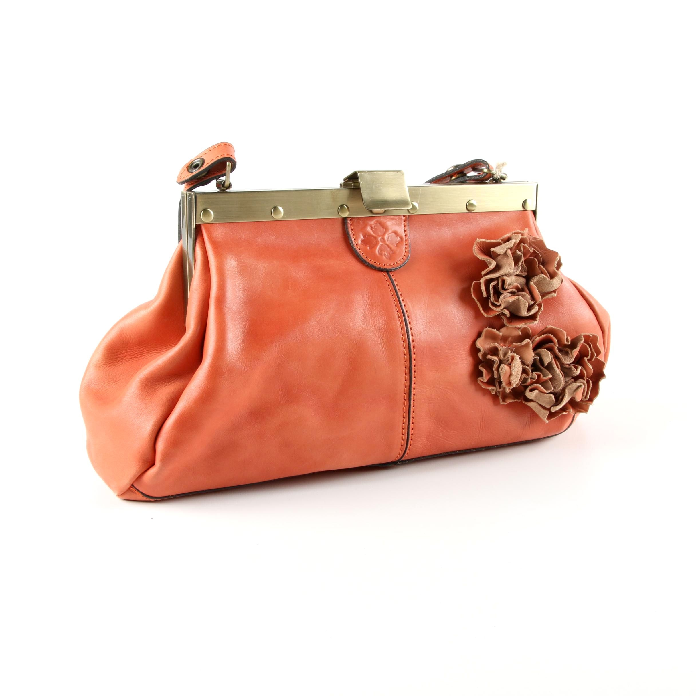 Patricia Nash Ferrera Orange Leather Satchel