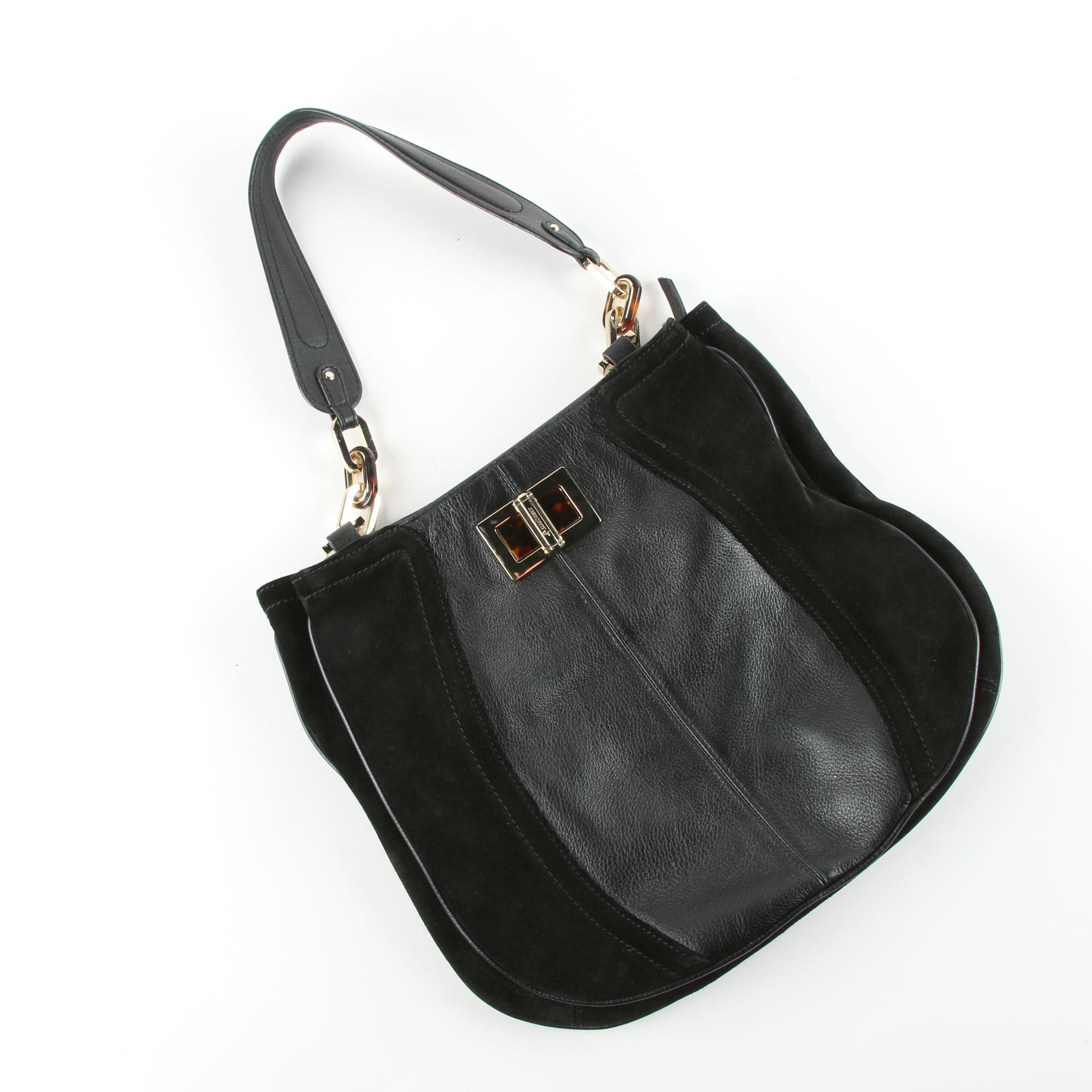 B. Makowsky Black Suede and Leather Handbag