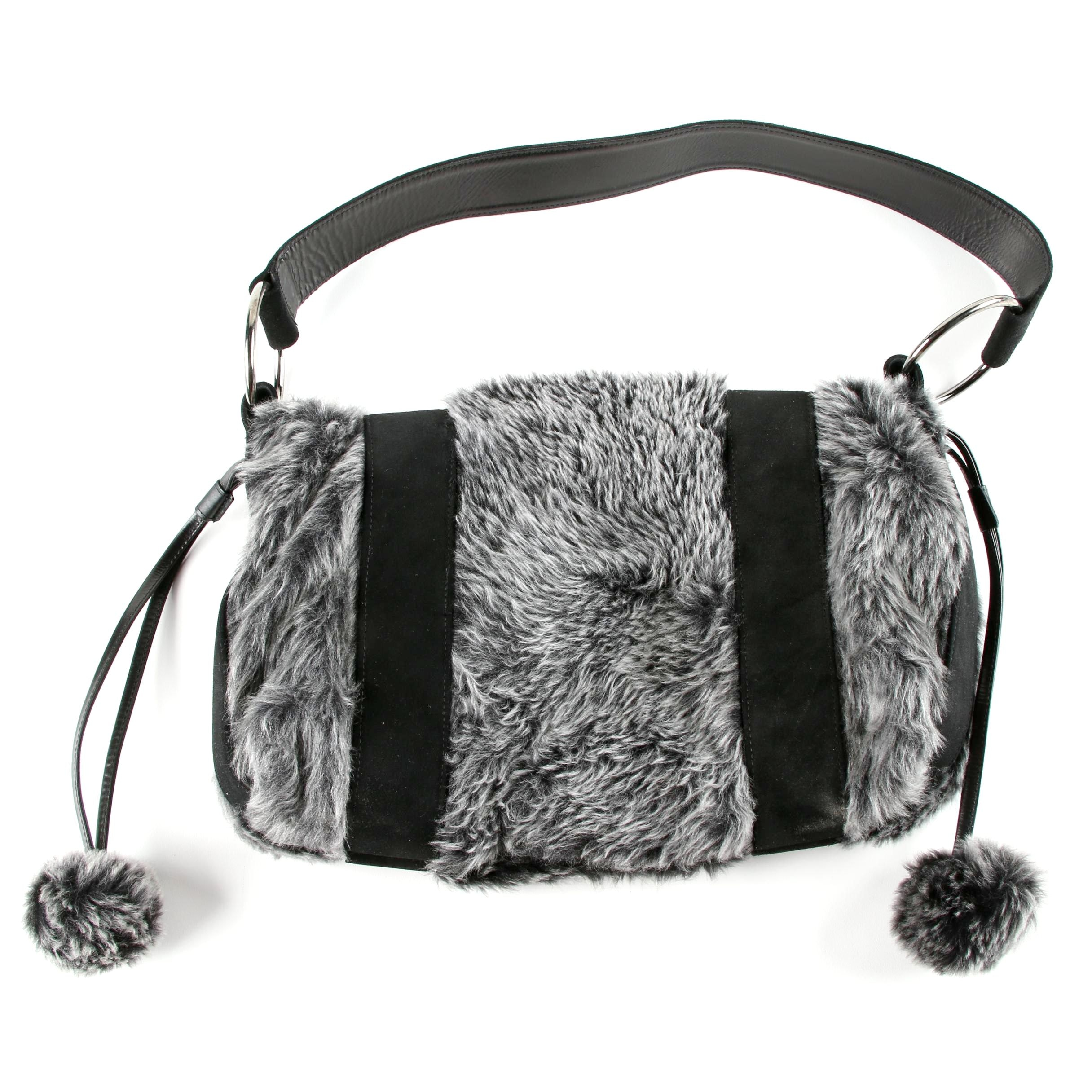 Stuart Weitzman Black and Gray Leather and Faux Fur Shoulder Bag