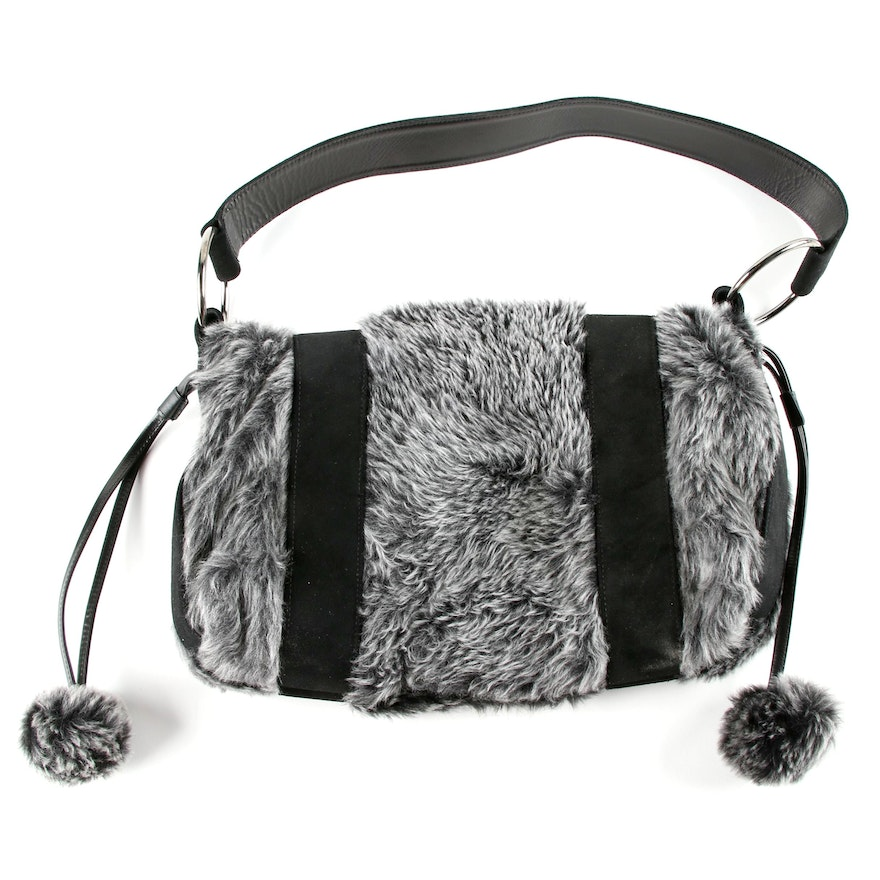 7e12cbcfaab2 ... Stuart Weitzman Black and Gray Leather and Faux Fur Shoulder Bag ... on  sale  Womens ...