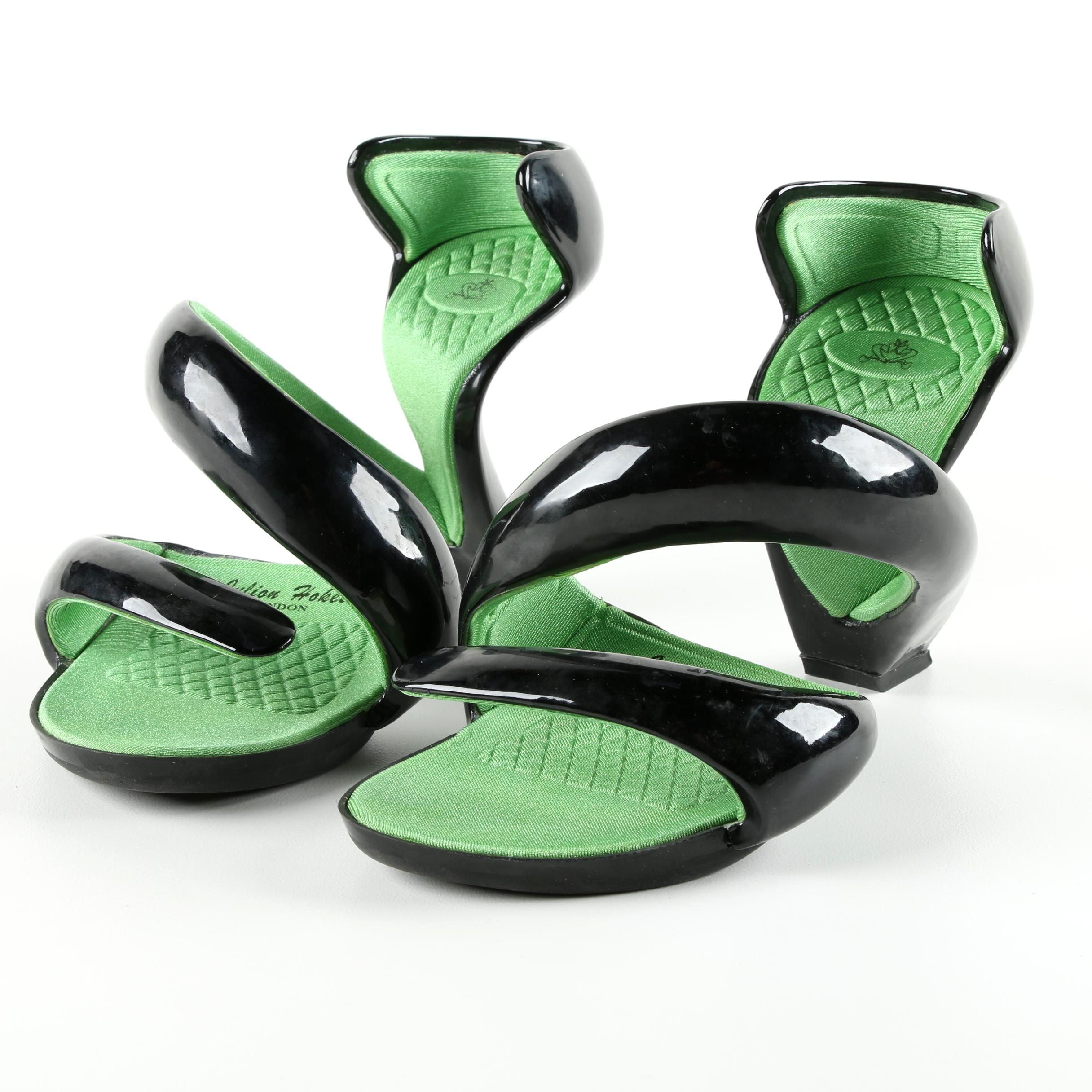 Julian Hakes Black and Green Mojito Heels