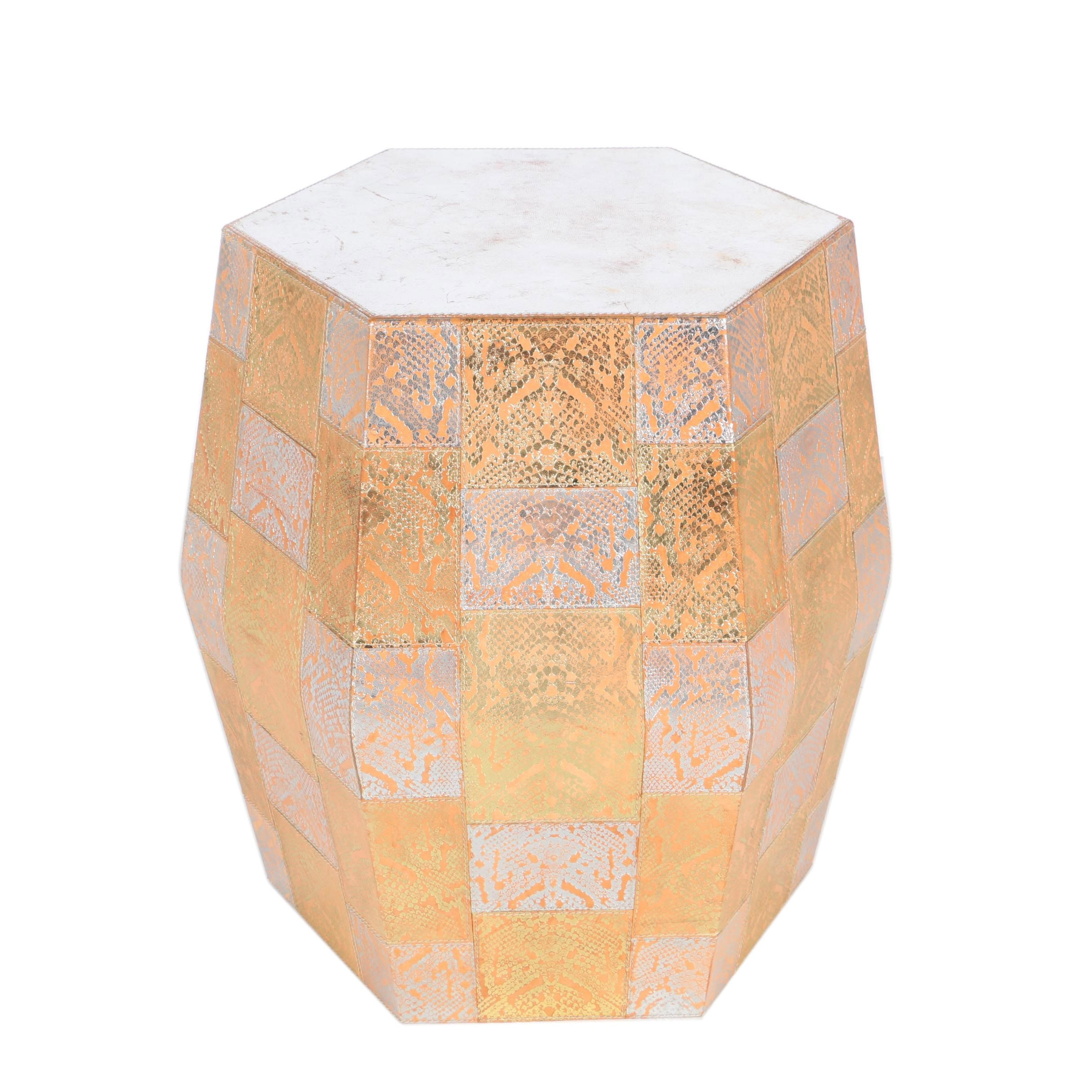 East Indian Hexagonal Leather-Covered Metal Occasional Table