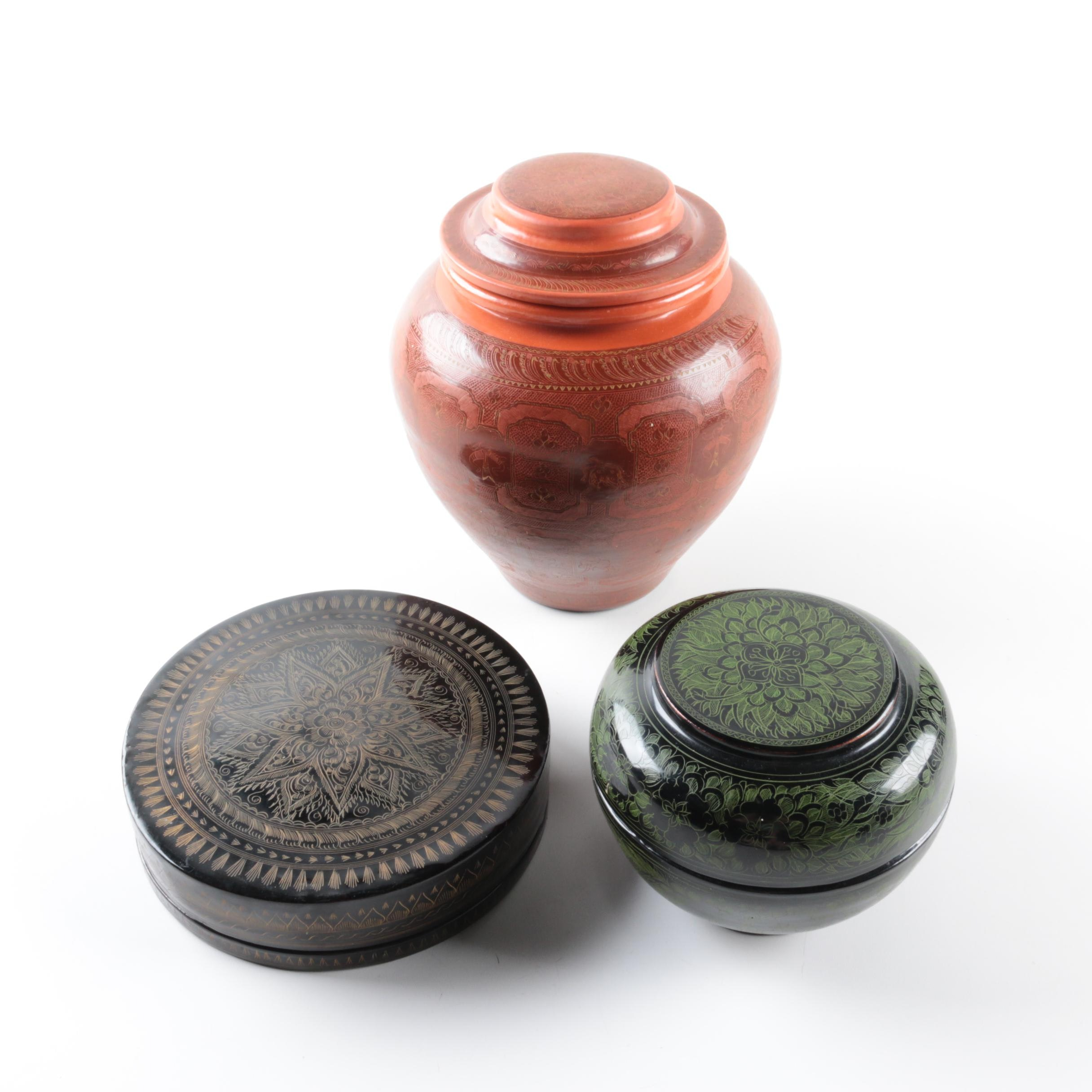 Lidded Carved Wood Jar and Boxes