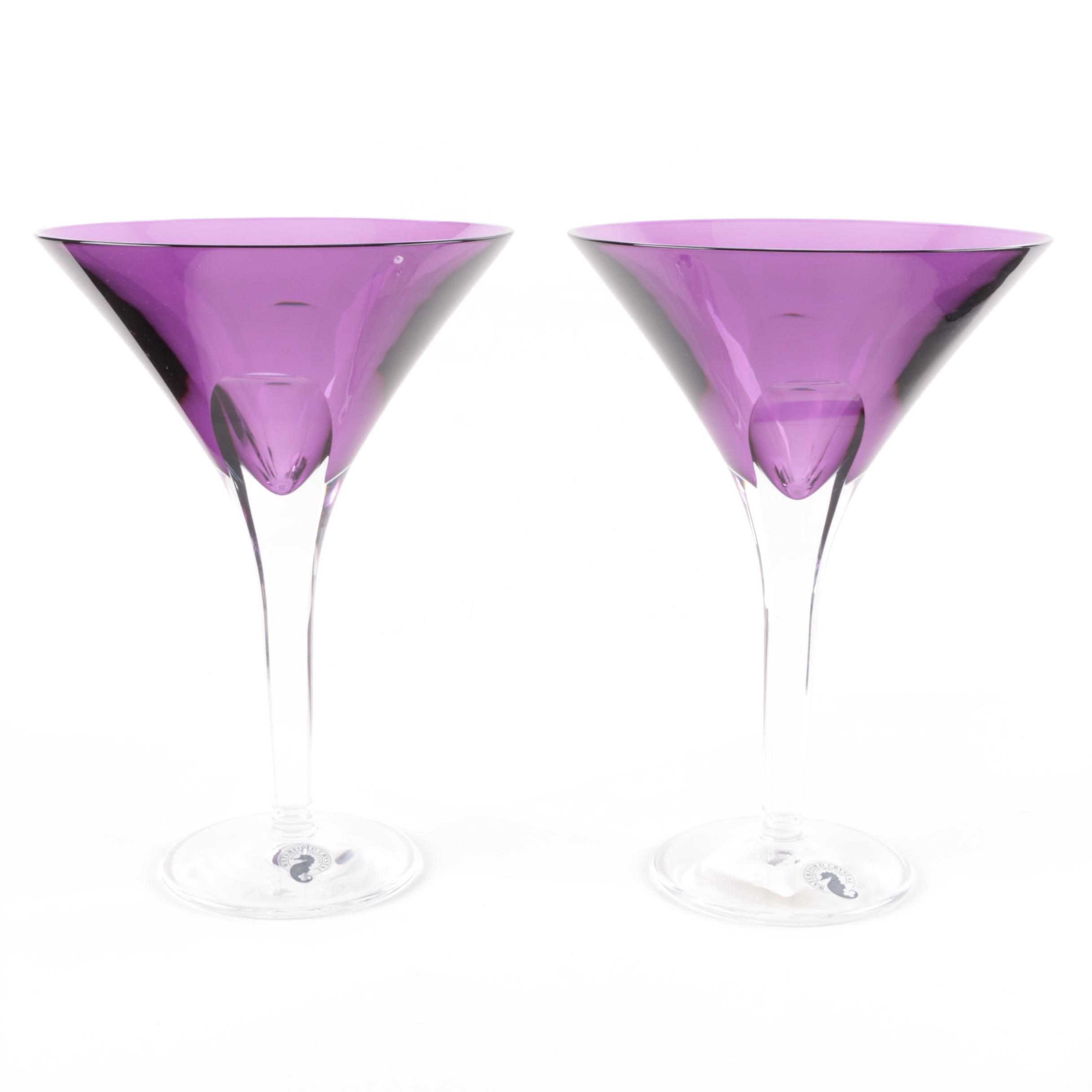 "Pair of Waterford Crystal ""Eclipse Amethyst"" Martini Glasses"