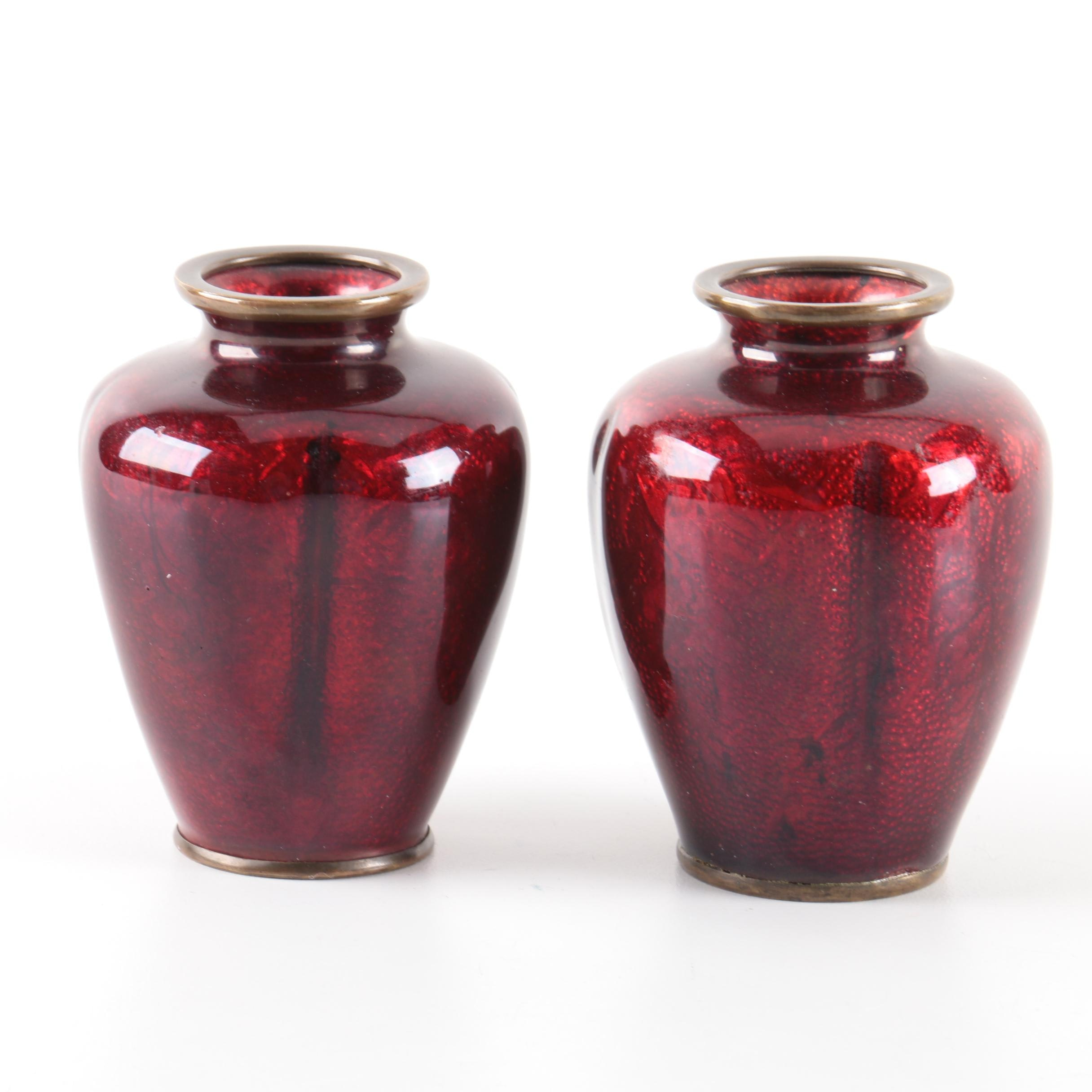 "Japanese ""Pigeon Blood"" Enamel on Brass Vases"