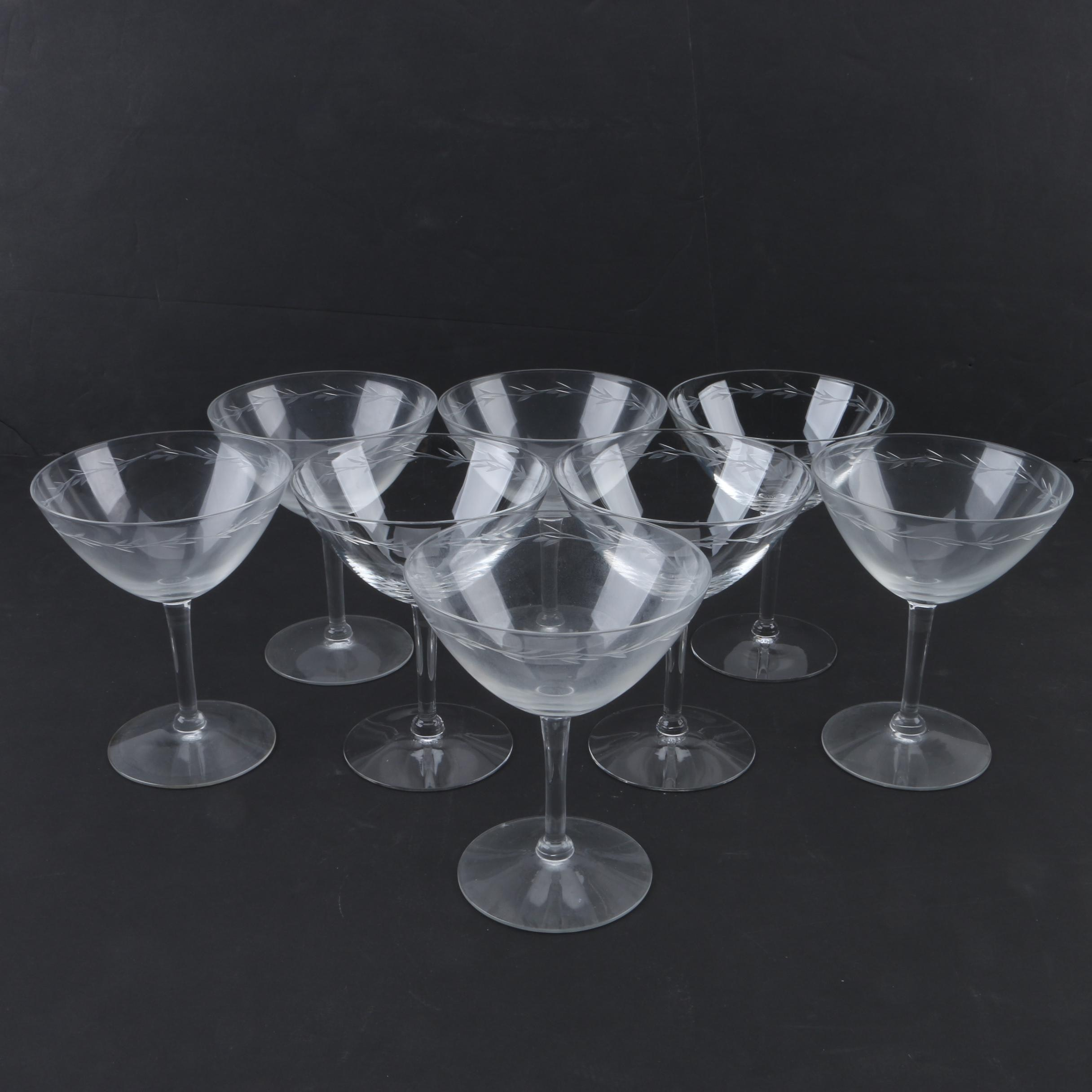 Laurel Wreath Motif Etched Glass Champagne Coupes