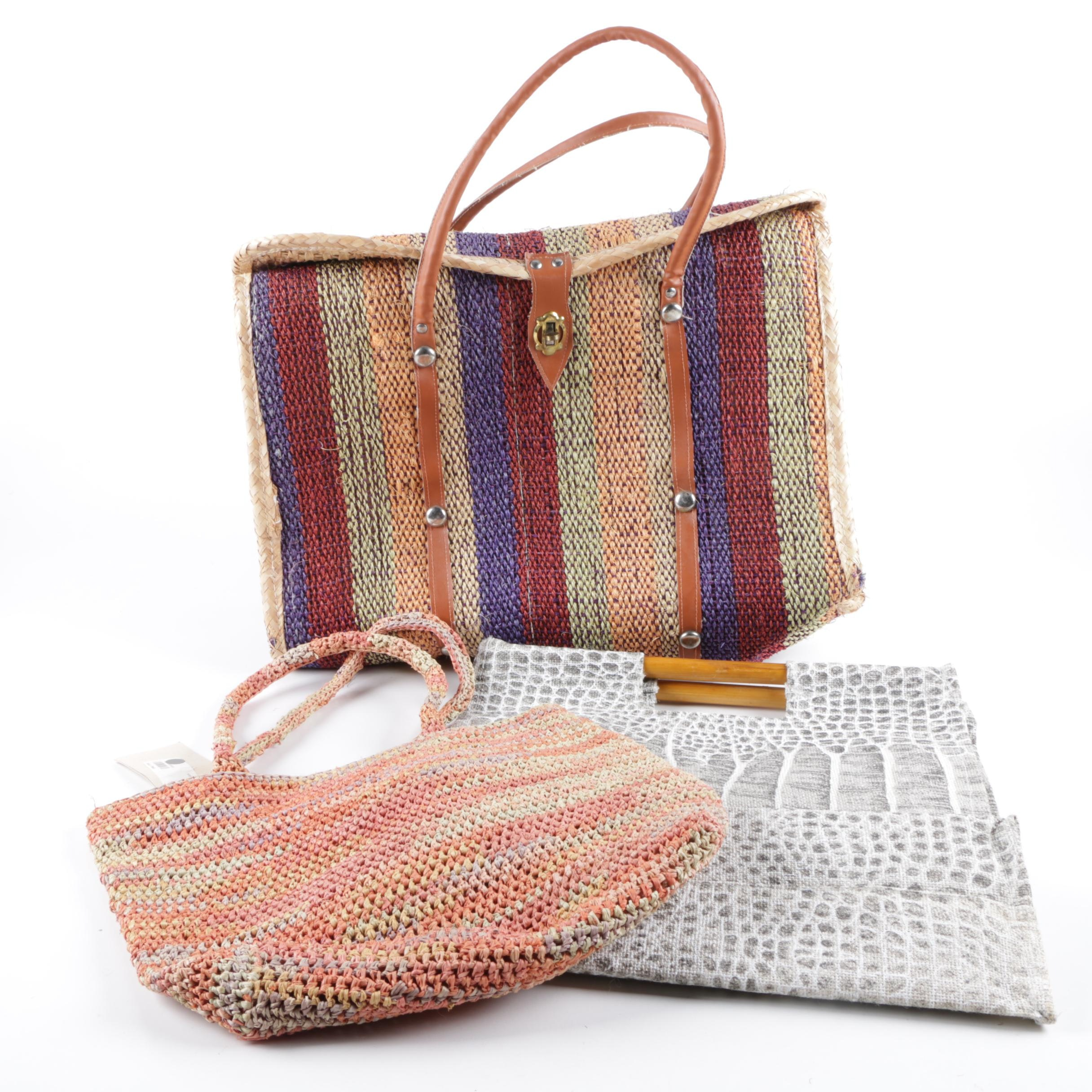 Straw, Raffia and Burlap Handbags Including Helen Kaminski