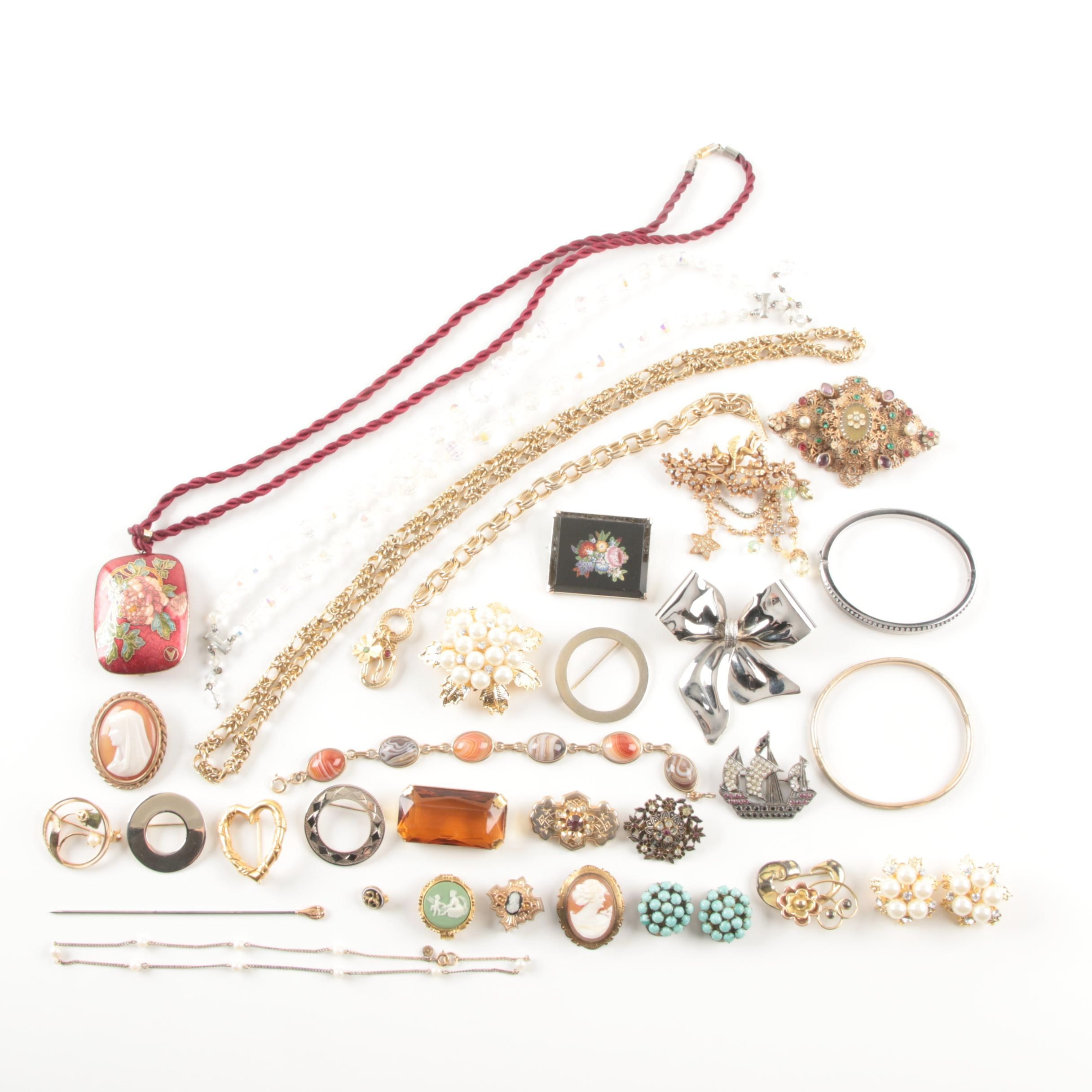 Assortment of Costume Jewelry Including a Skaggen and Kirks Folly