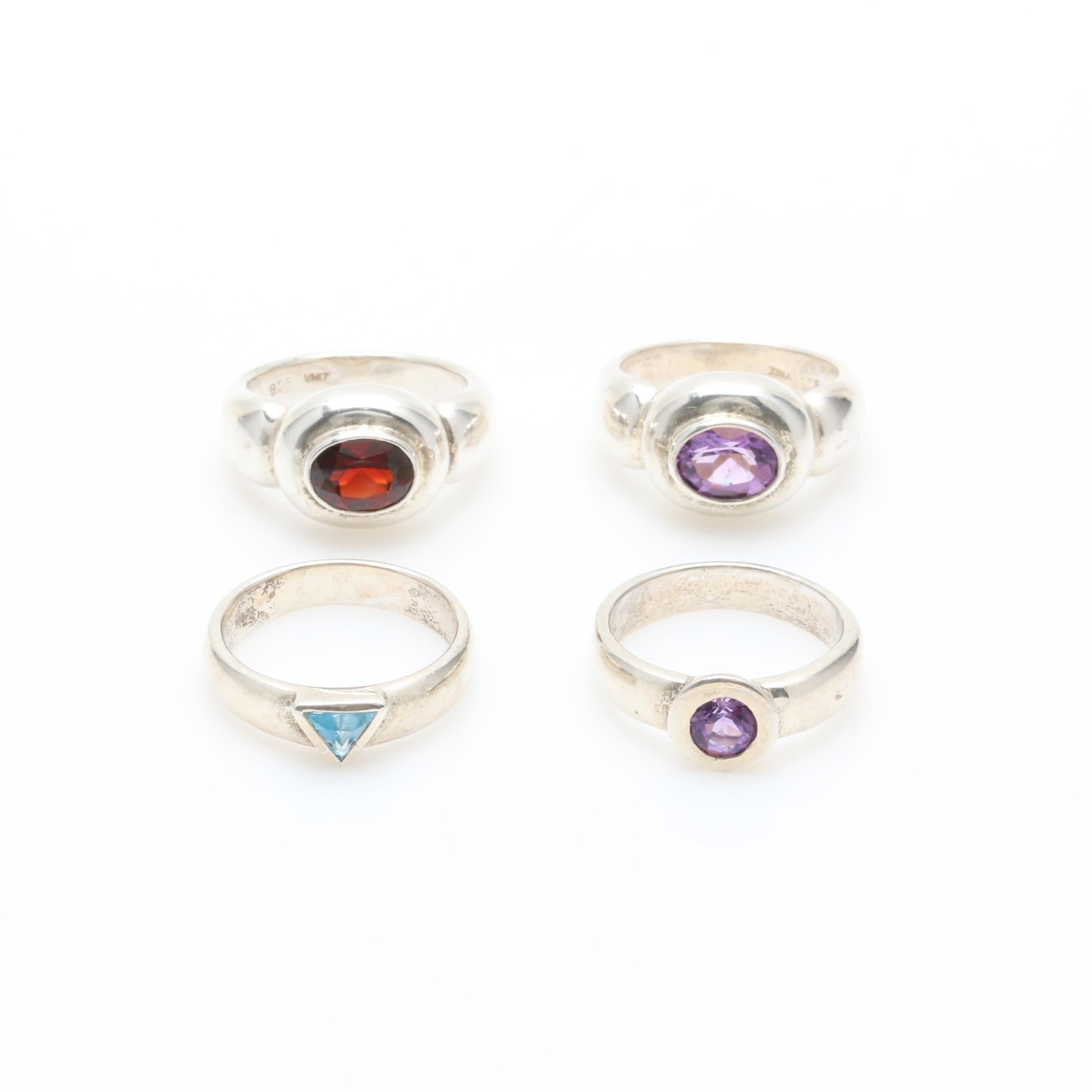 Sterling Silver Bezel Set Gemstone Ring Selection