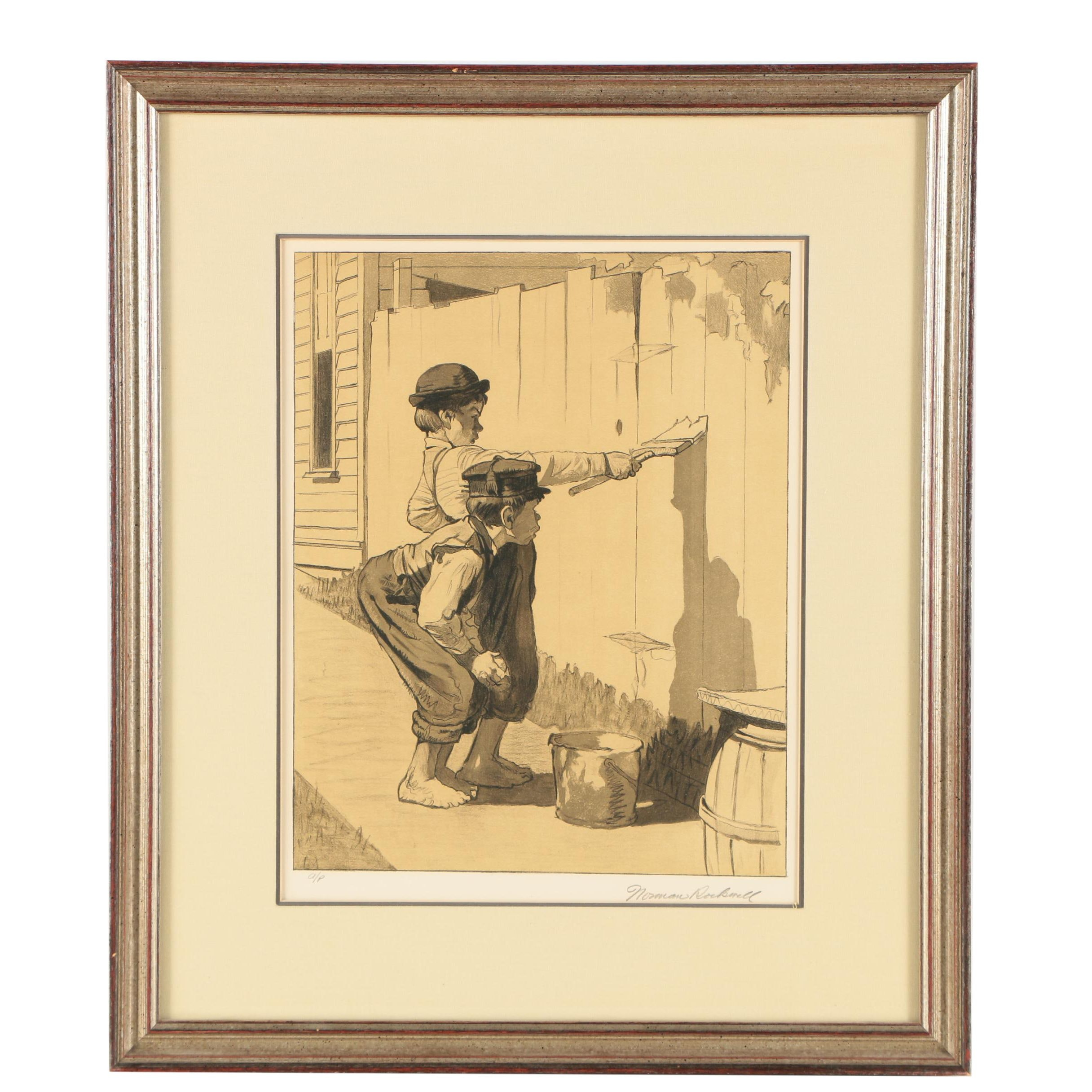 "Norman Rockwell Lithograph Print ""Whitewashing the Fence"""