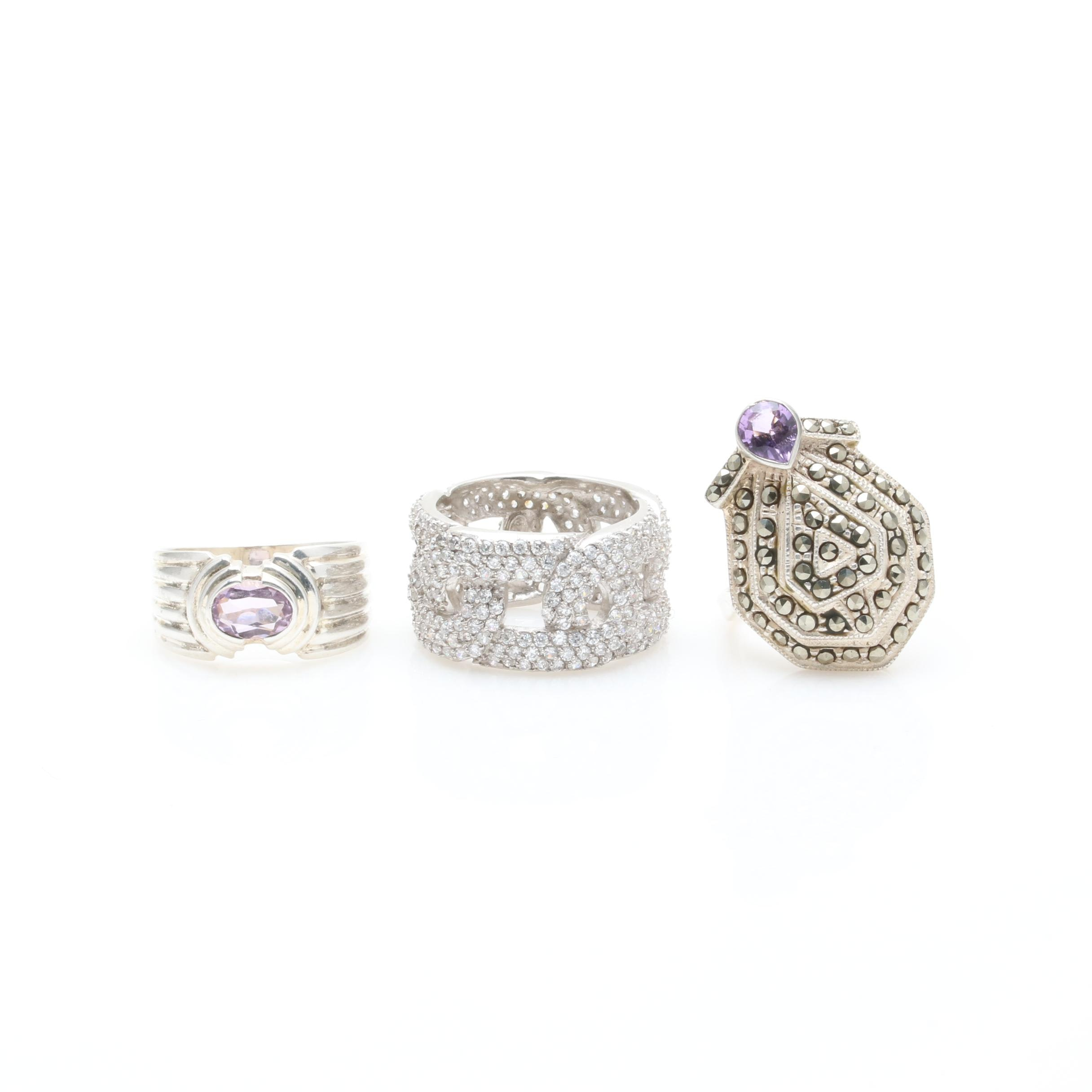 Sterling Silver Ring Assortment Including Amethyst and Cubic Zirconia