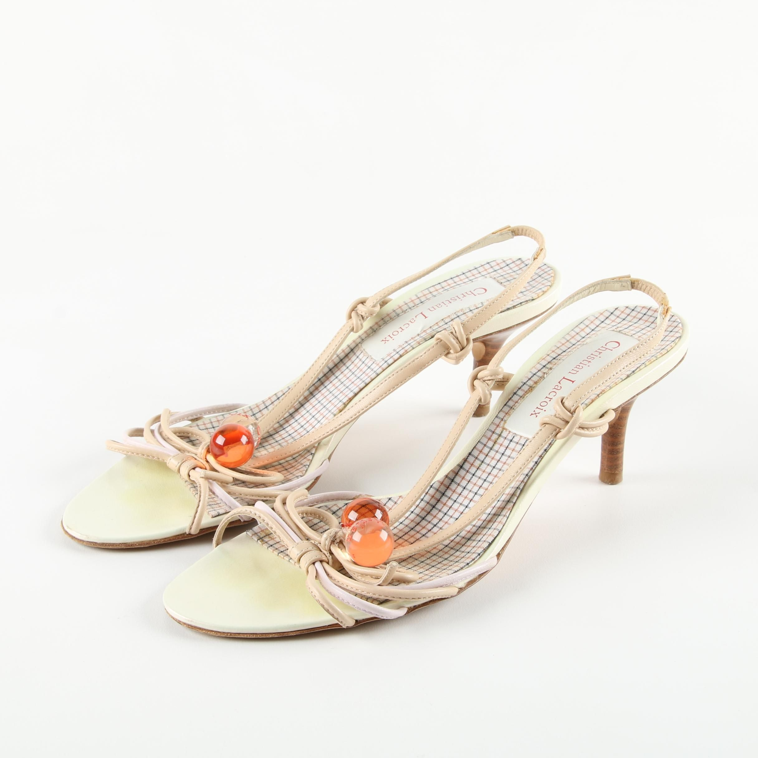 Christian Lacroix Cream Leather Sandals with Acrylic Accents