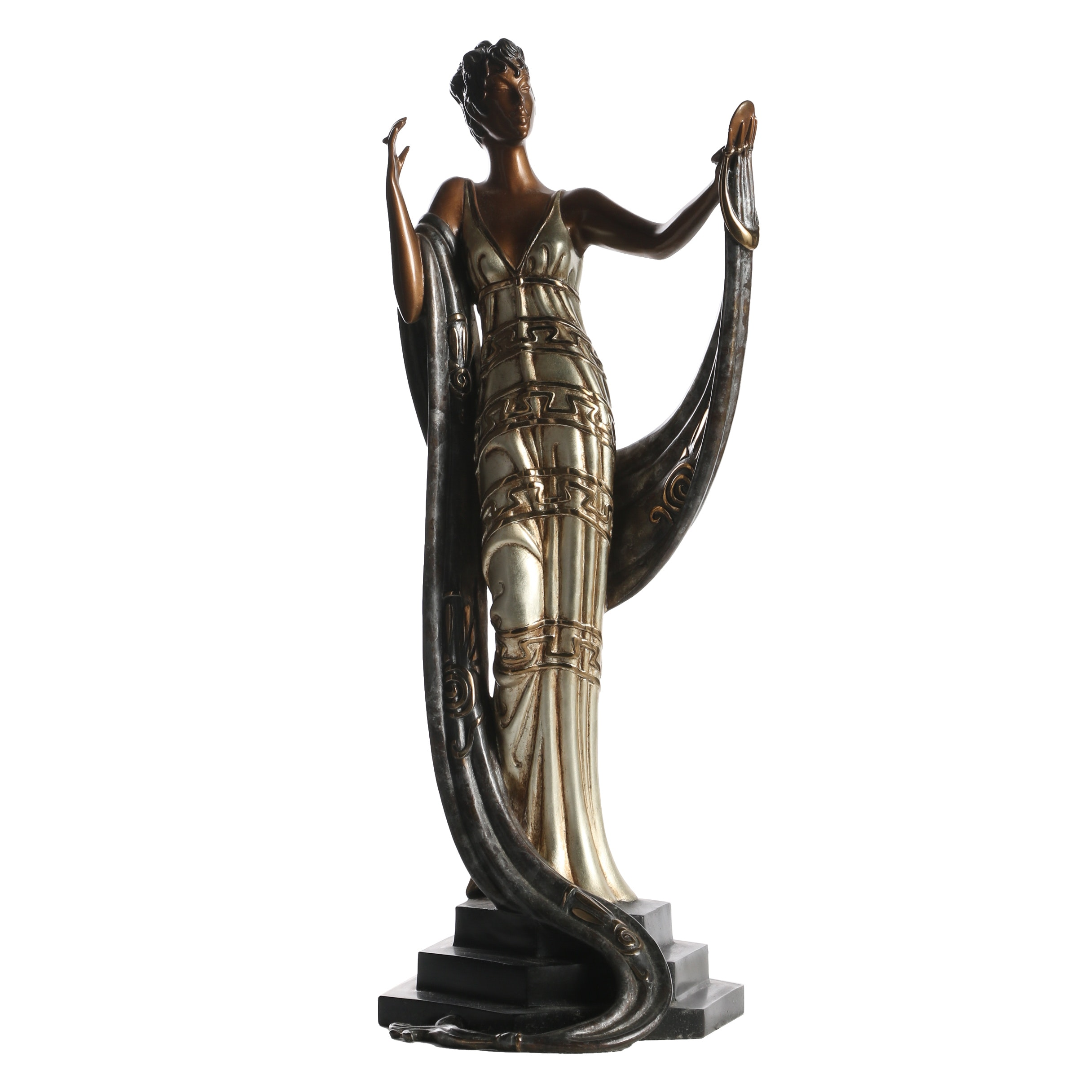 "Erté Patinated Bronze Sculpture ""La Coquette"""