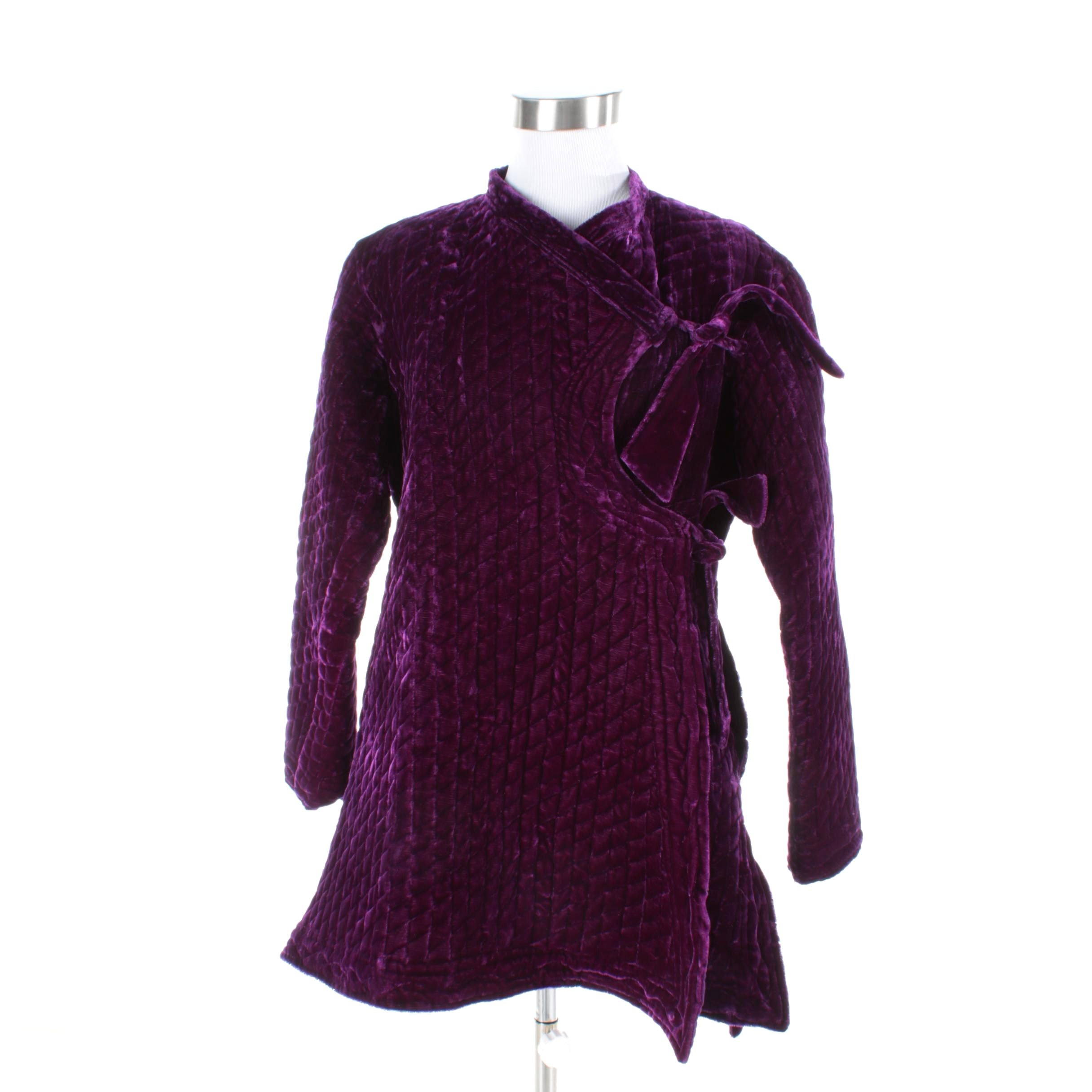 Women's Purple Quilted Velvet Jacket