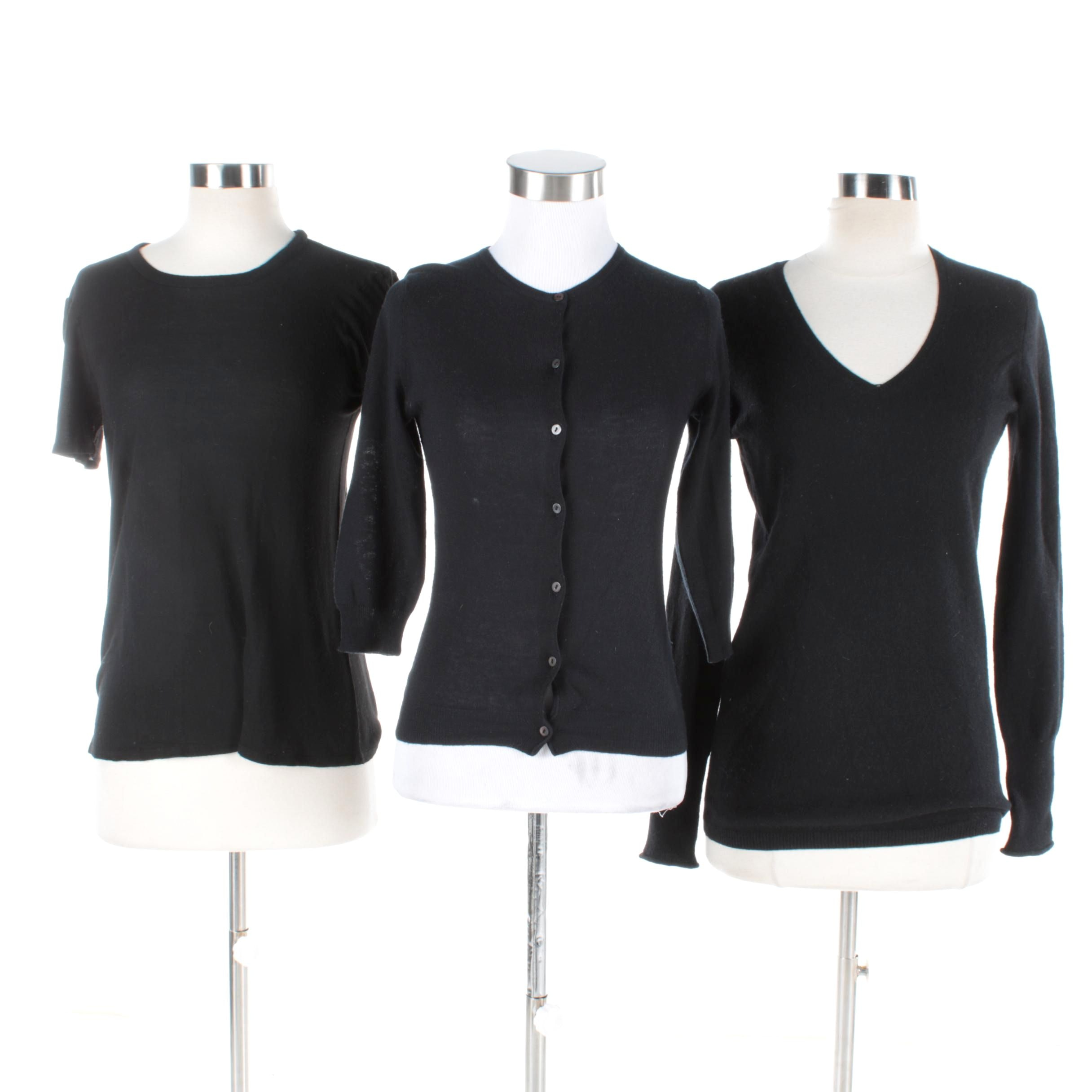Women's Black Cashmere Tops Including Juicy Couture and The Row