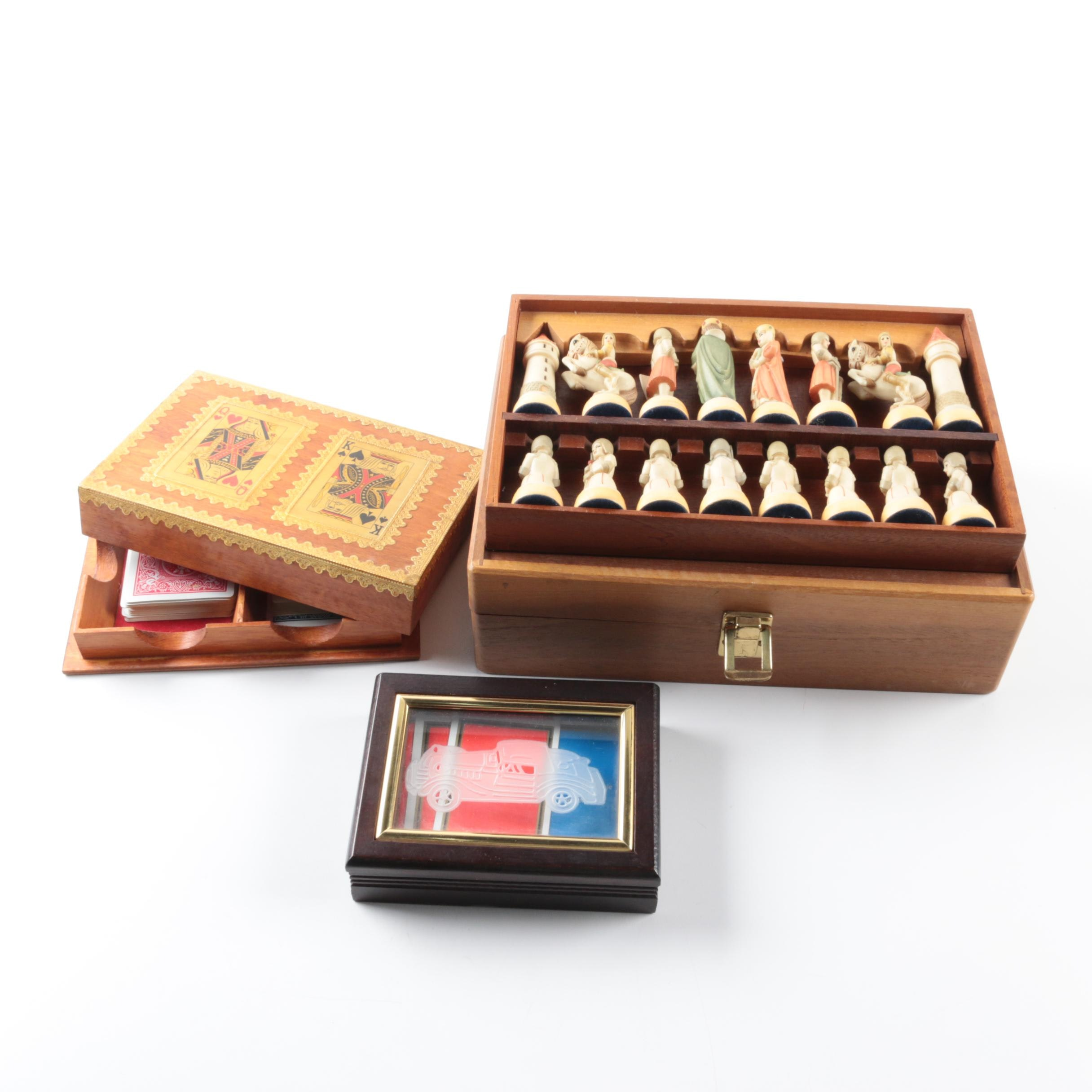 Chess Pieces and Two Playing Card Holder Boxes
