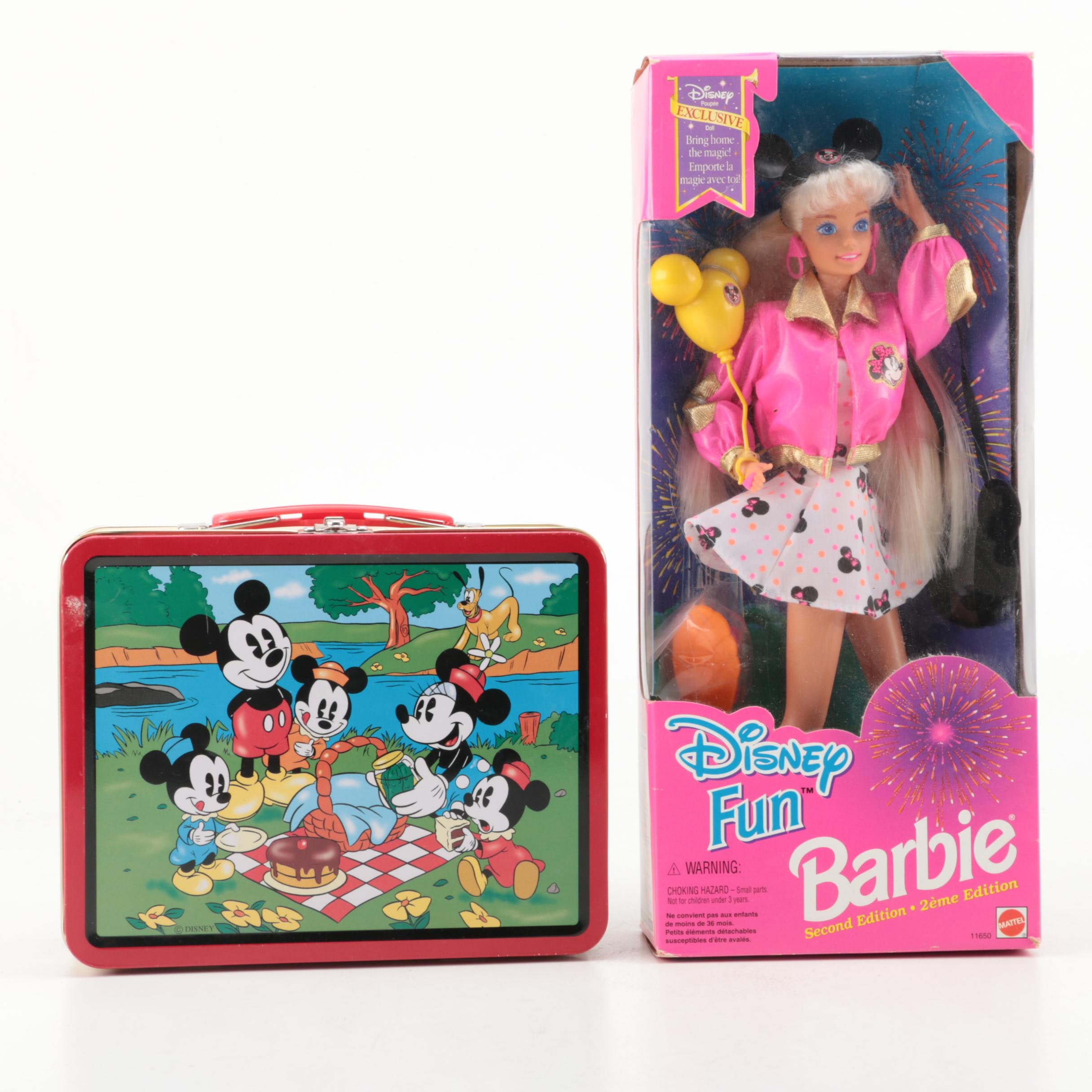 "1990s Mattel ""Disney Fun"" Barbie Doll and ""Mickey Mouse"" Lunch Box"