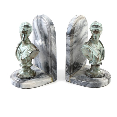 Marble Bust Bookends