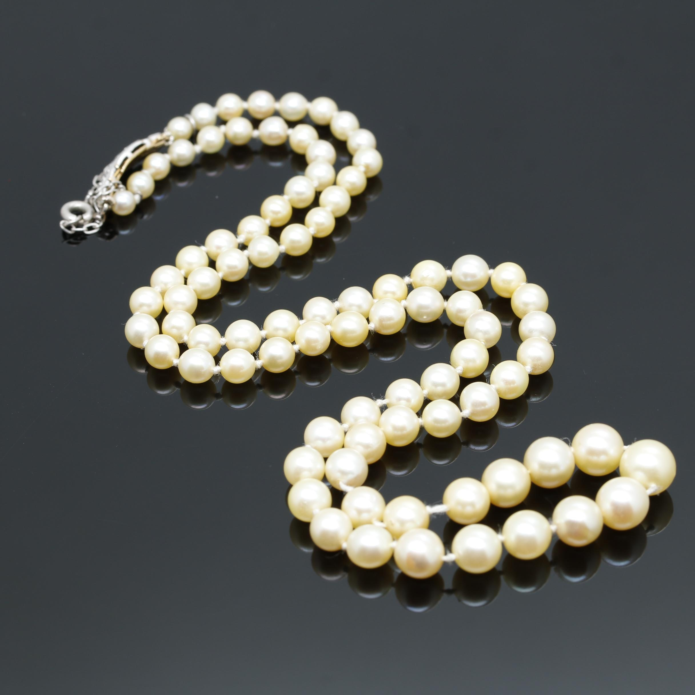 18K Two Tone Gold Cultured Pearl Necklace With Diamond Accent