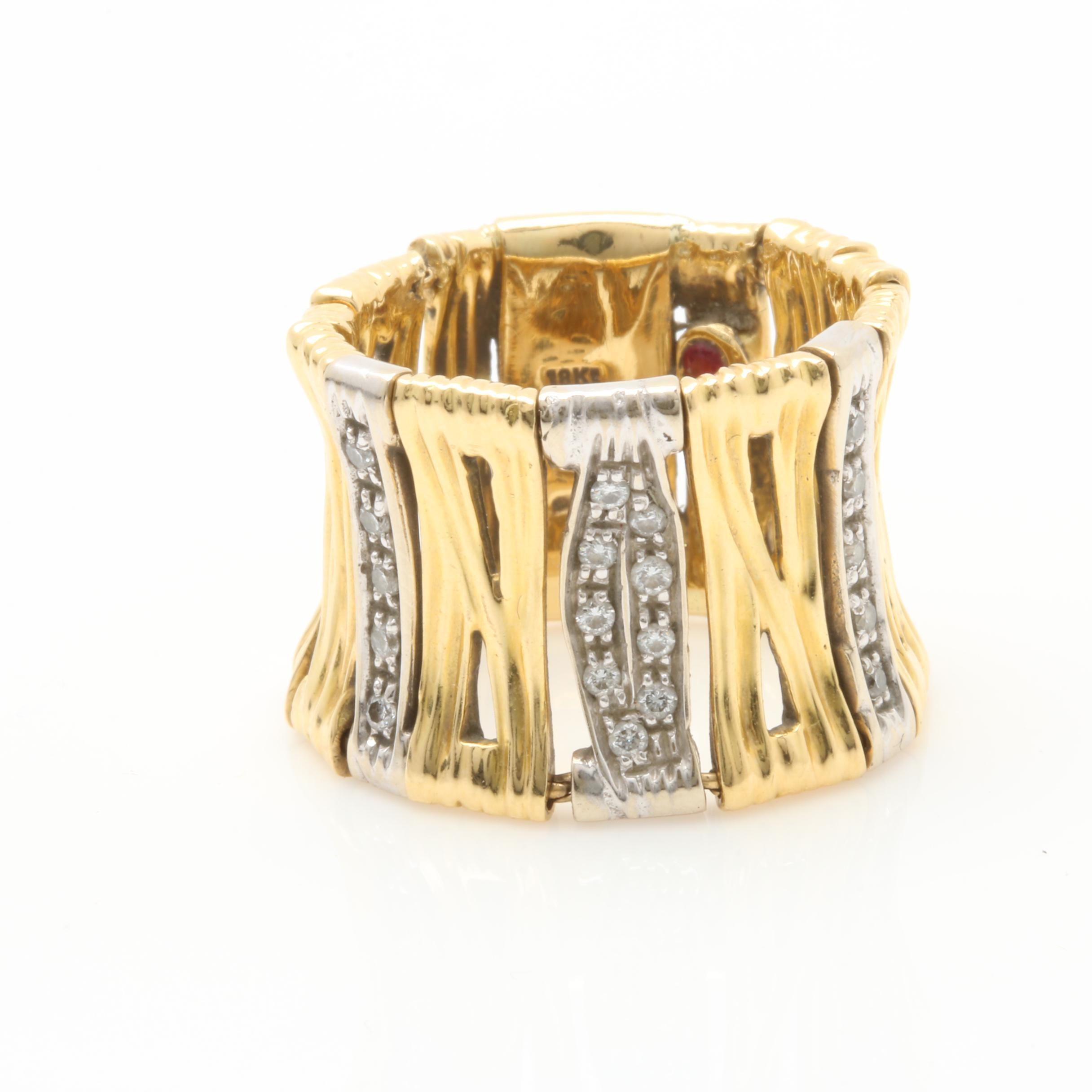 Roberto Coin 18K Yellow Gold Diamond Flexible Ring