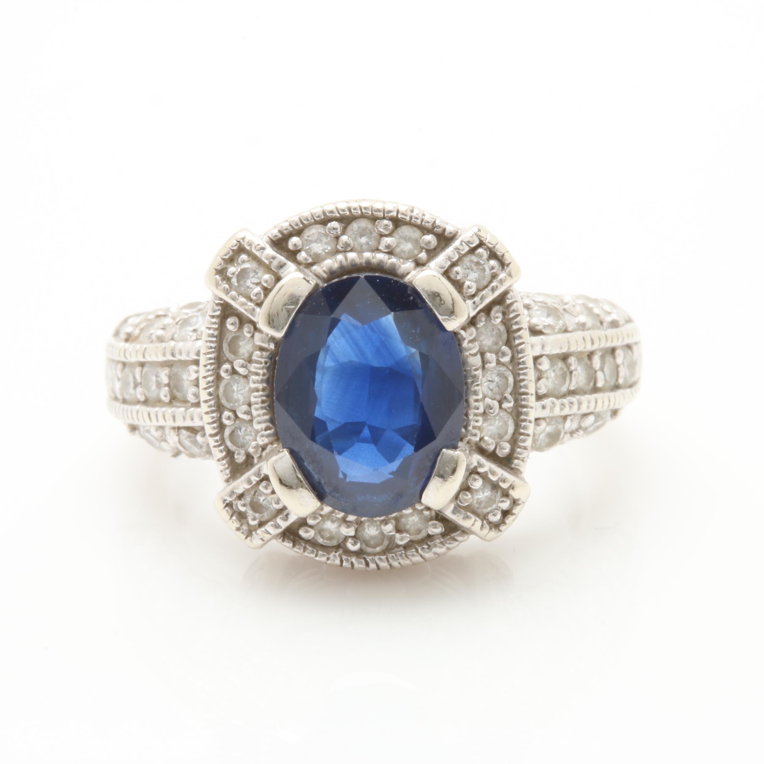 14K White Gold 1.48 CT Sapphire and Diamond Ring