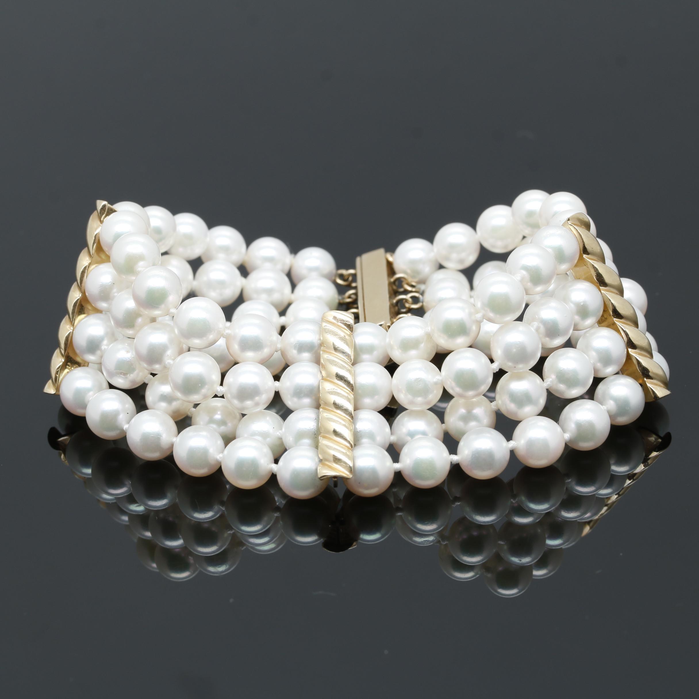 14K Yellow Gold Cultured Pearl Multi Strand Bracelet