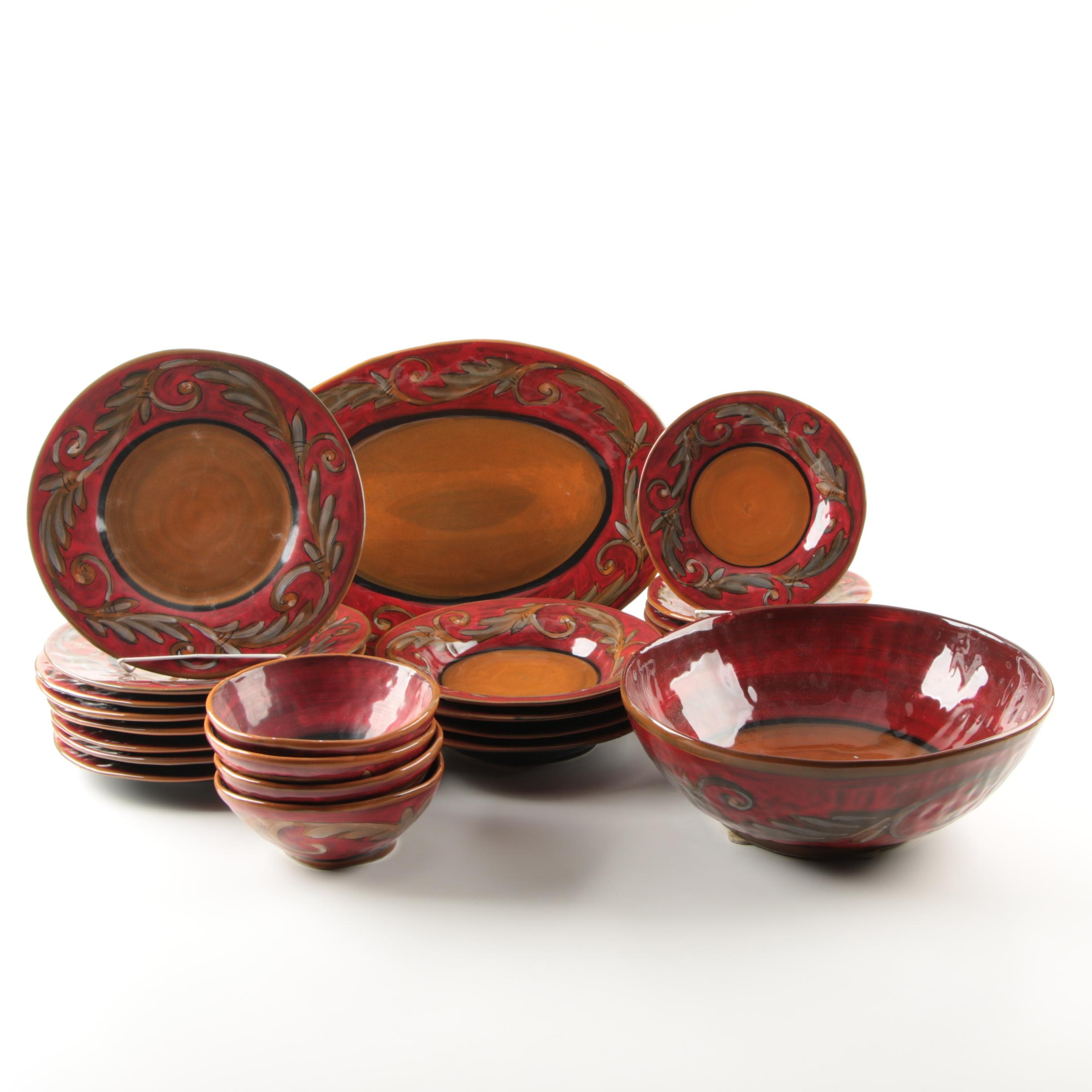 Italian Dinnerware by Rale in Red with Leaf Band