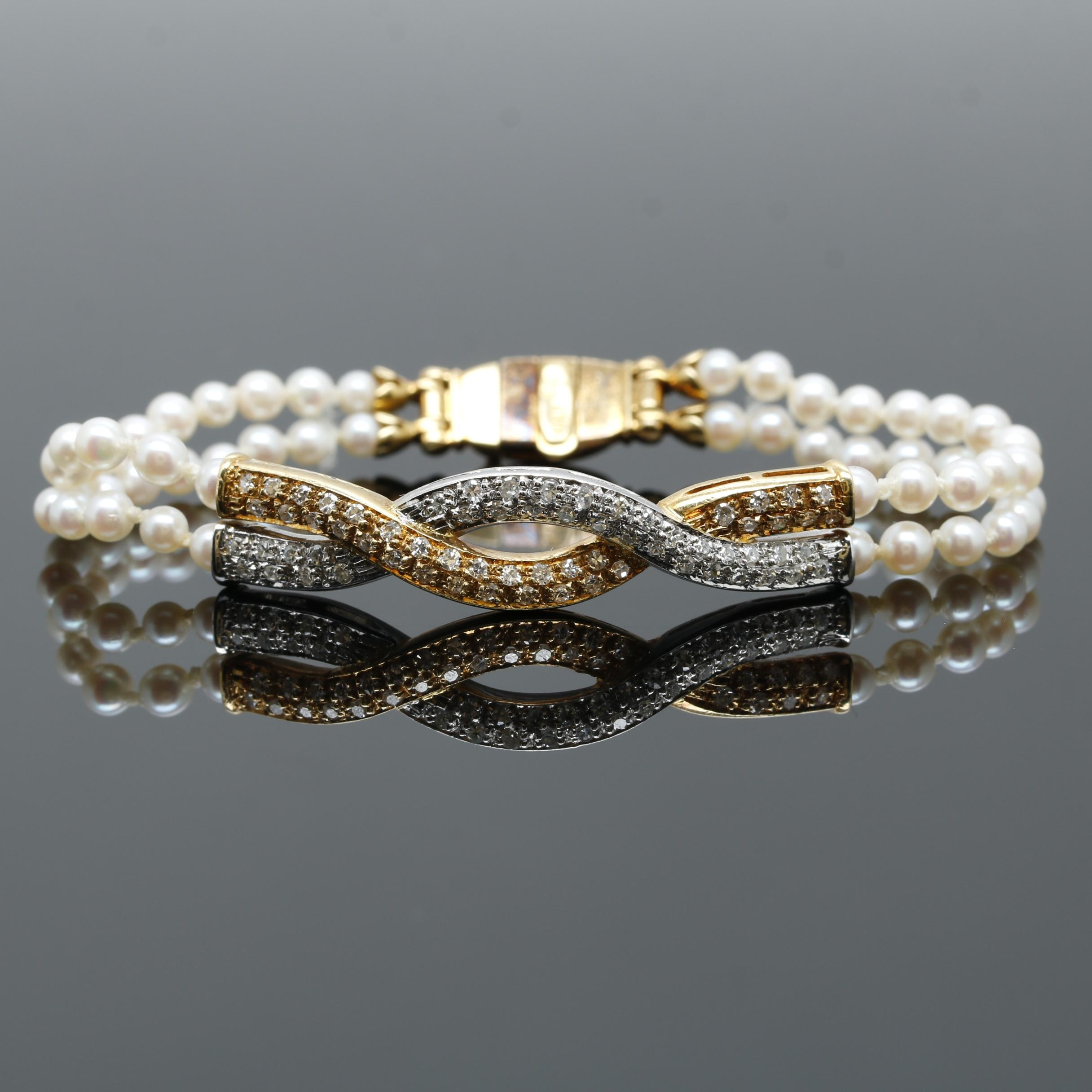 18K Yellow Gold Cultured Pearl and Diamond Bracelet