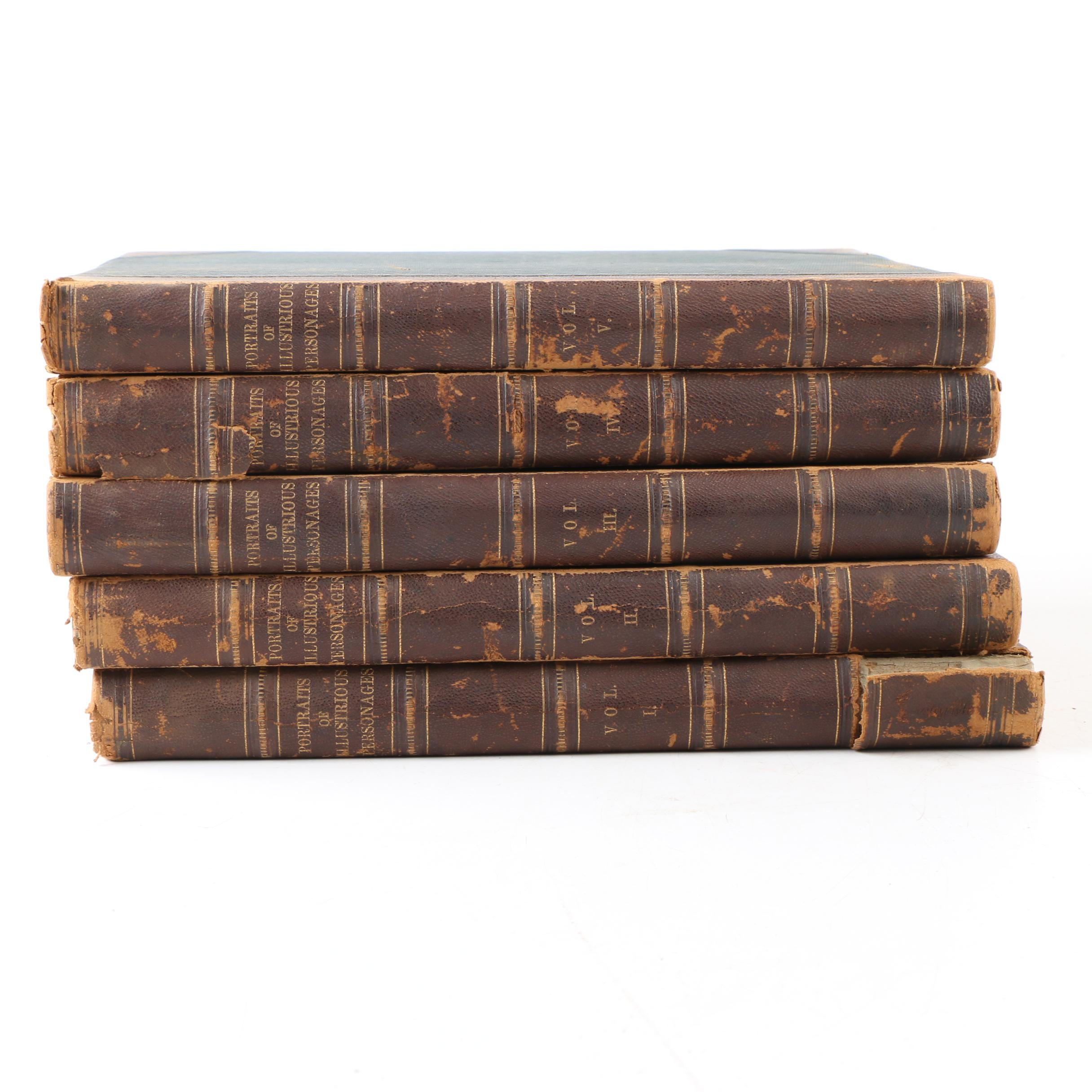 """Mid 19th Century Five Volumes of """"Portraits of Illustrious Personages"""""""