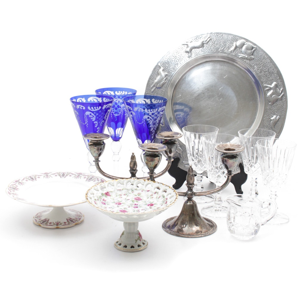 Assorted Crystal and Porcelain Tableware including Arthur Court