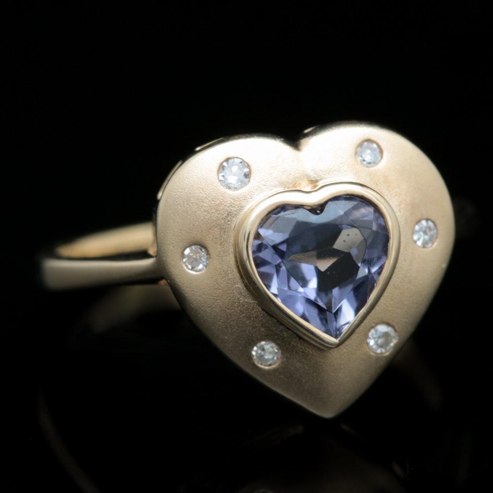 10K Yellow Gold, Iolite and Diamond Heart Ring