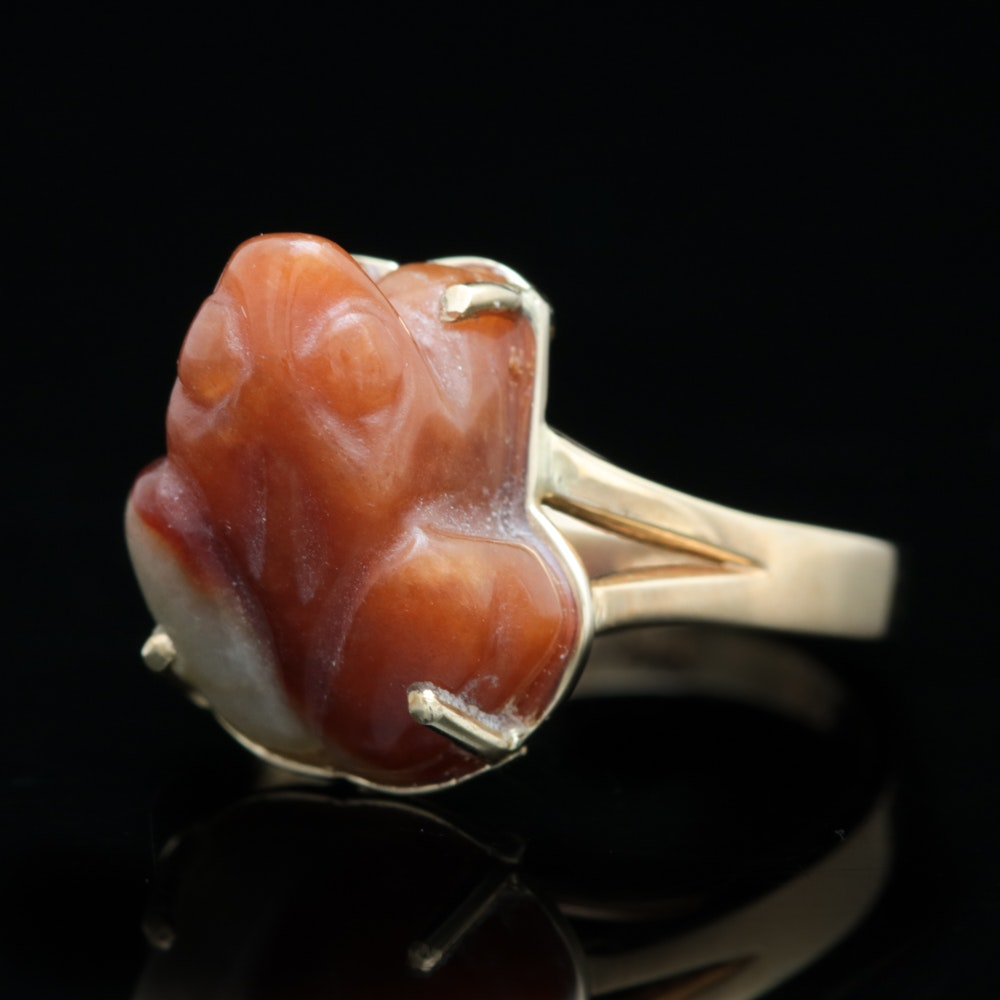 14K Yellow Gold and Orange and Green Jadeite Frog Ring