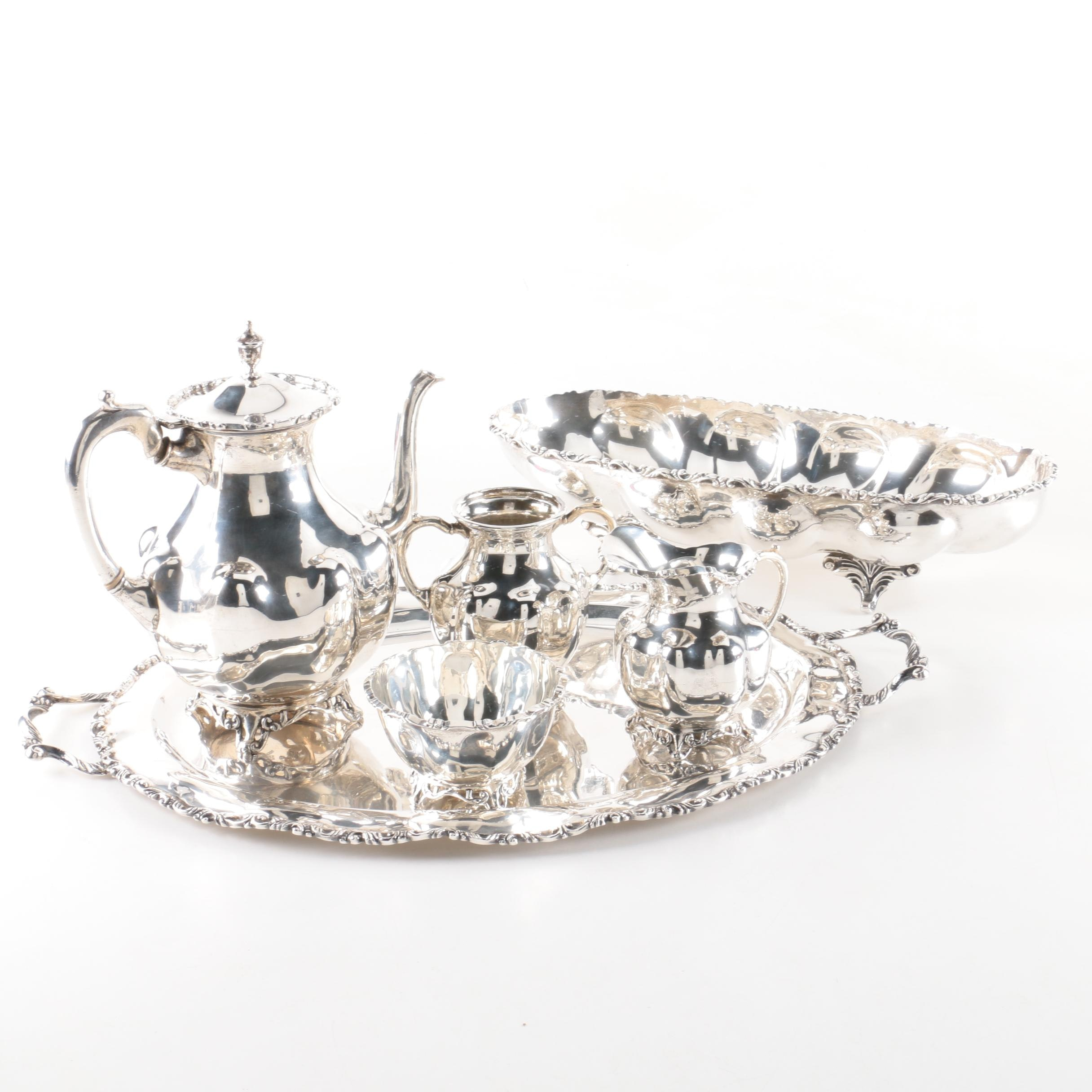 A. Torres Vega Mexican Sterling Silver Tea Set with Tray and Footed Dish