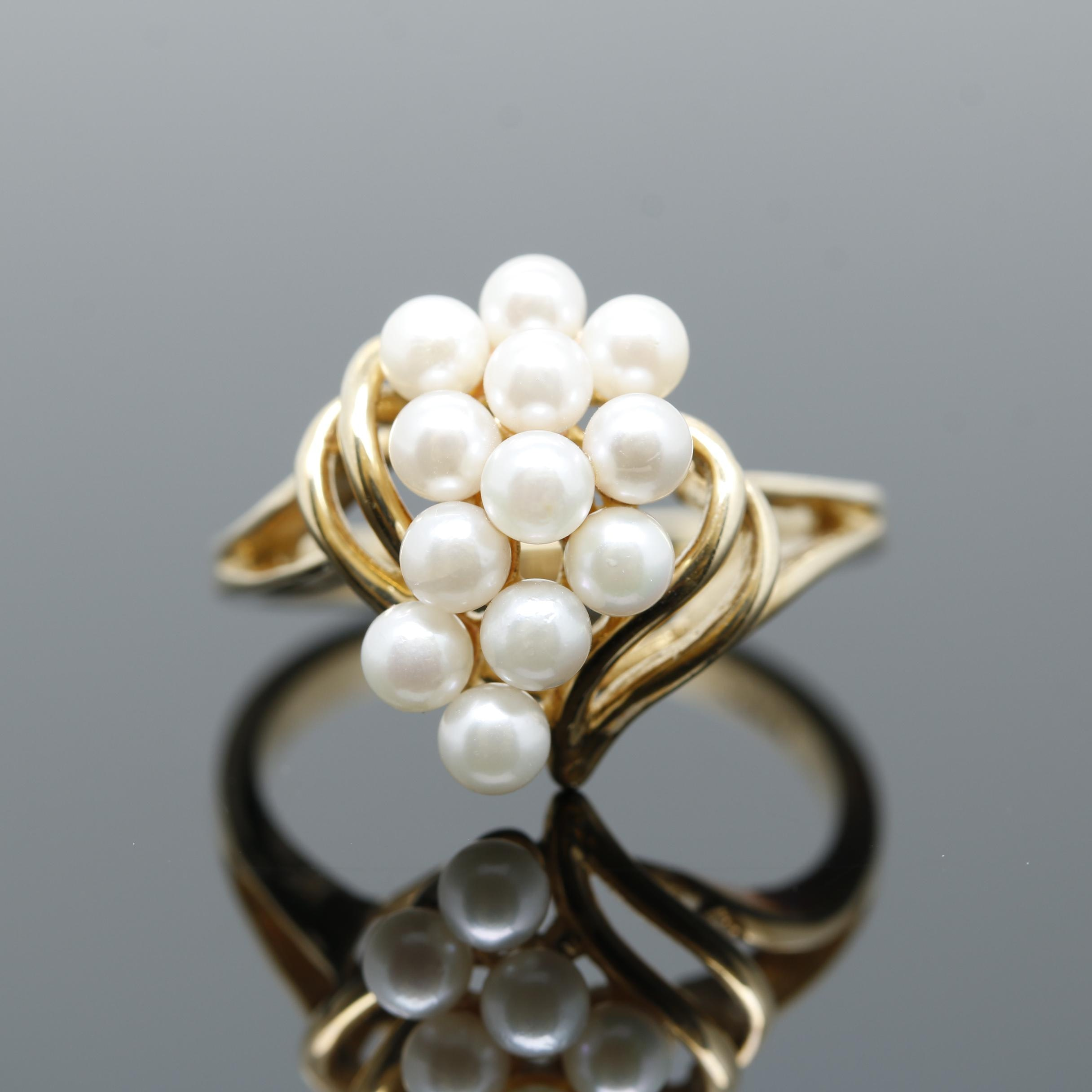 10K Yellow Gold Cultured Pearl Cluster Ring