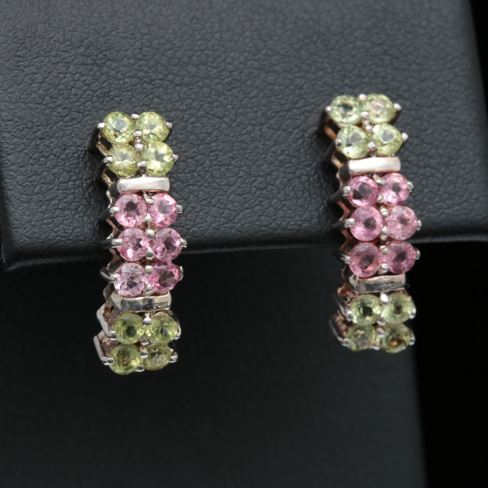 Sterling Silver, Green and Pink Zircon Earrings