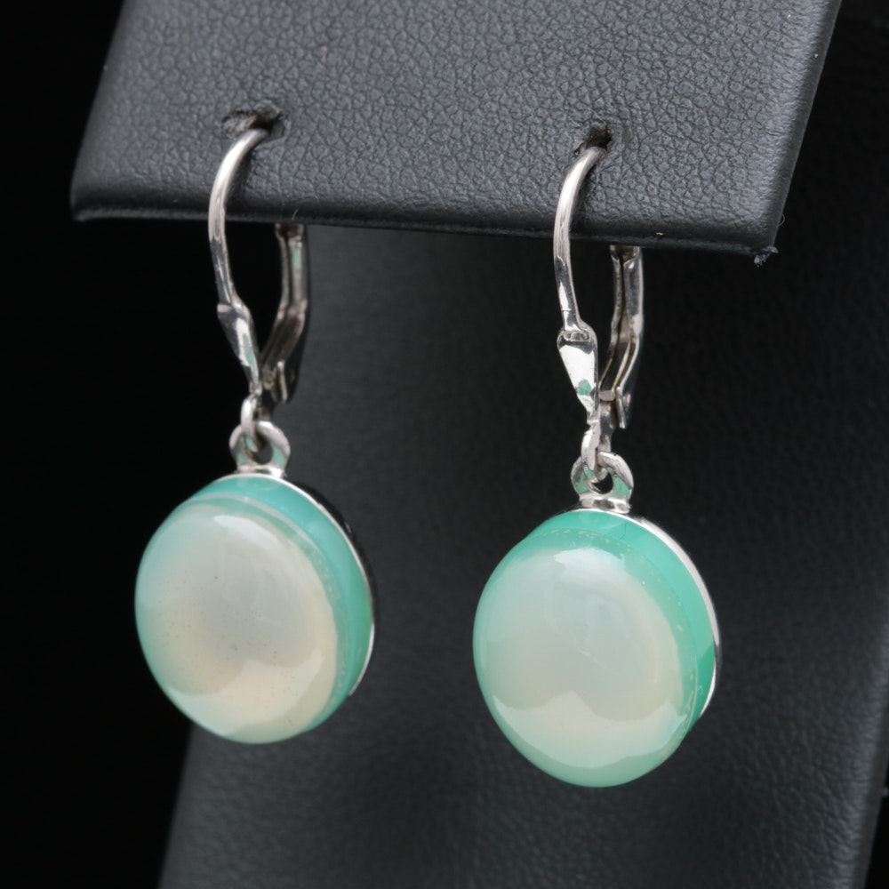 Sterling Silver, Chrysoprase and Agate Doublet Dangle Earrings