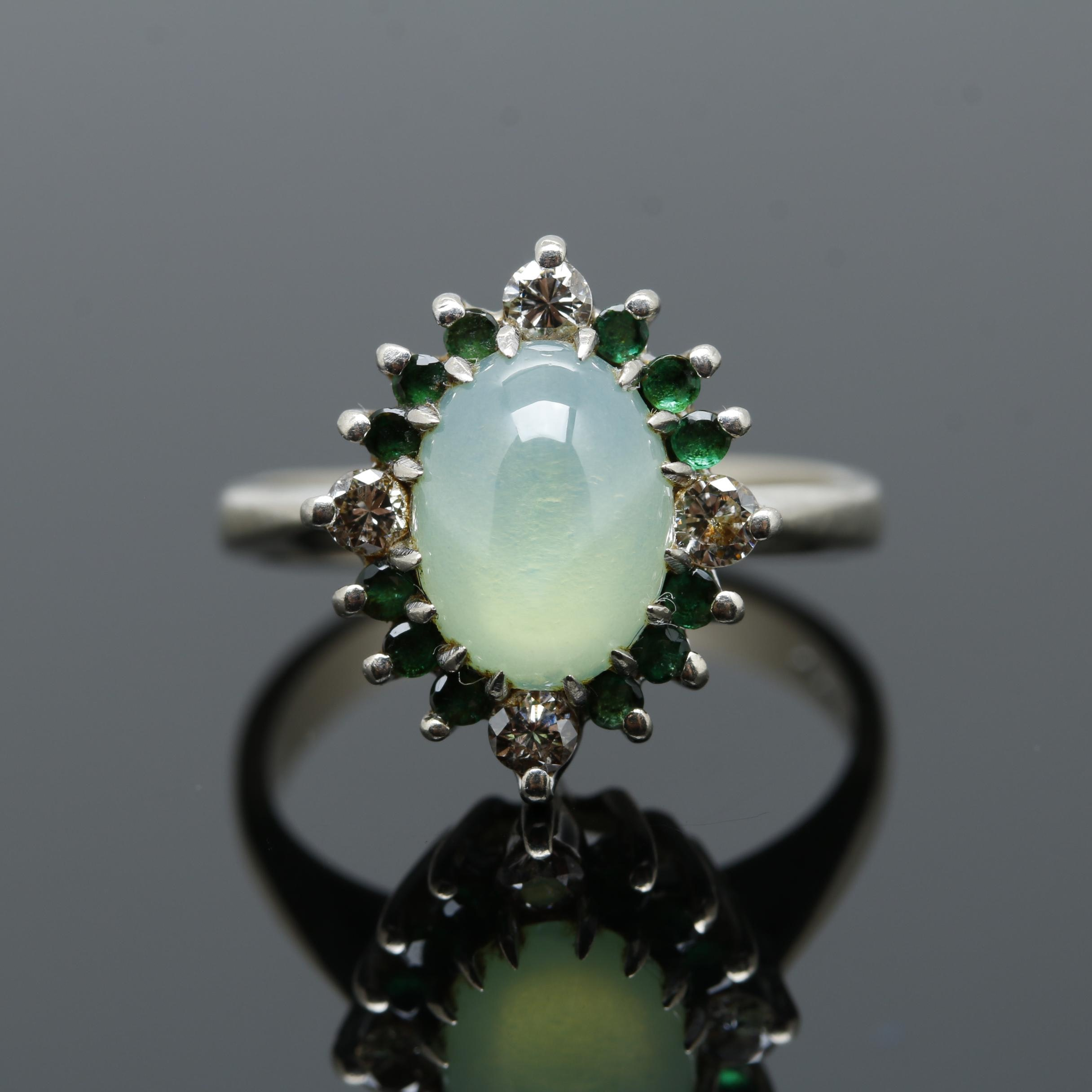14K White Gold Synthetic Star Sapphire, Emerald, and Diamond Ring