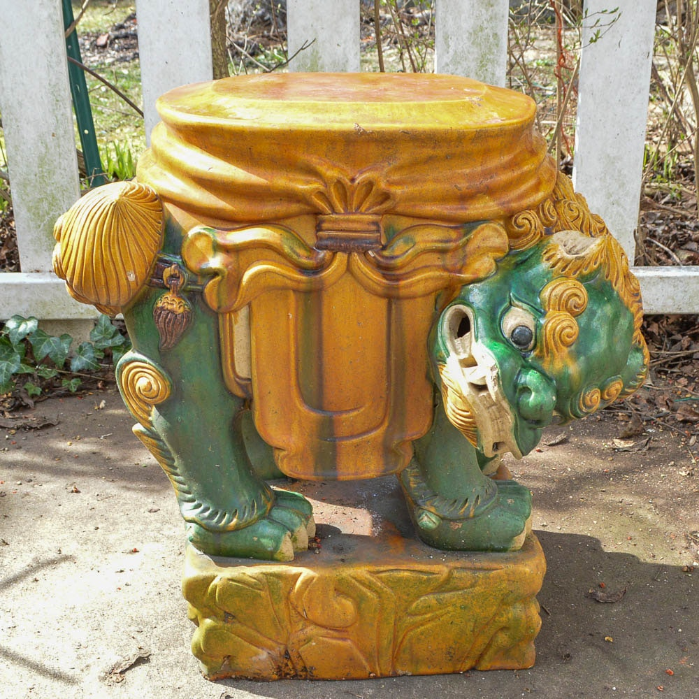 Chinese Guardian Lion Ceramic Plant Stand