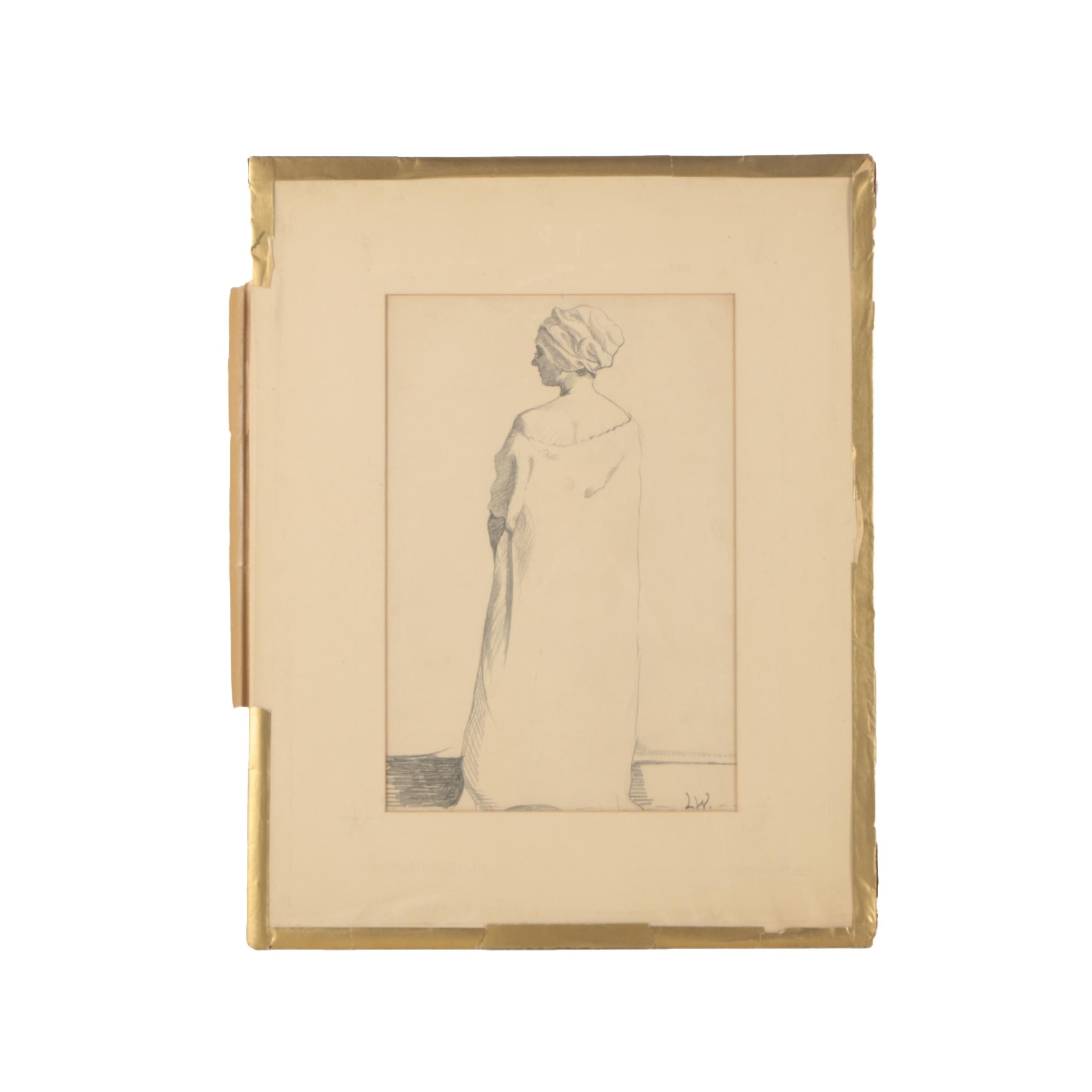 "Louise Wheelwright Damon Mid Century Drawing of Female Figure ""Pencil Drawing"""