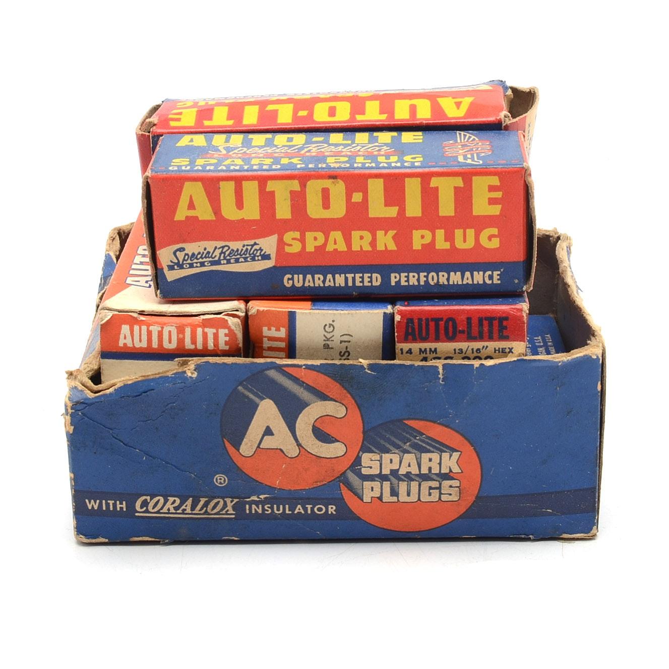 "Mid-Century ""AC Auto-Lite"" Spark Plugs in Display Box"