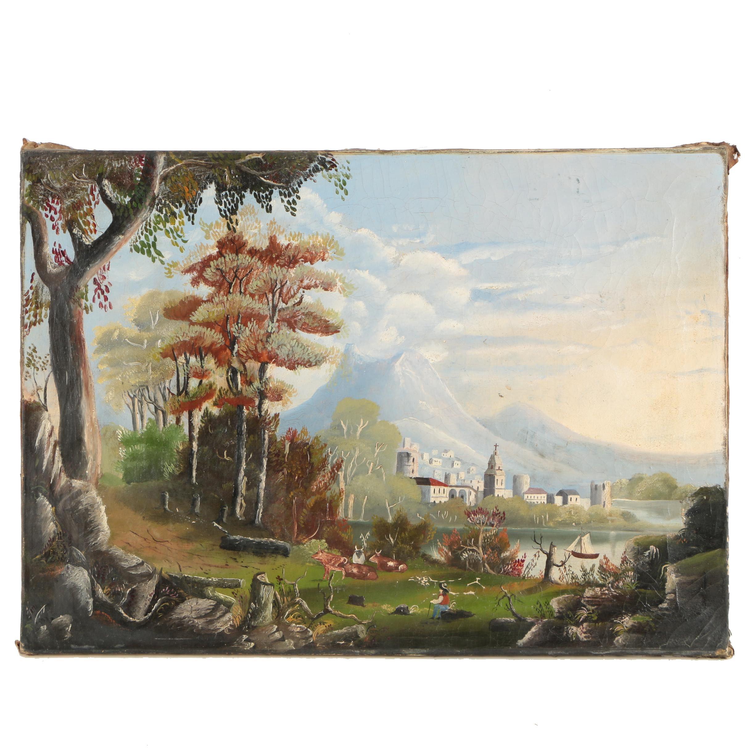 Antique Oil on Canvas Painting of a European Landscape