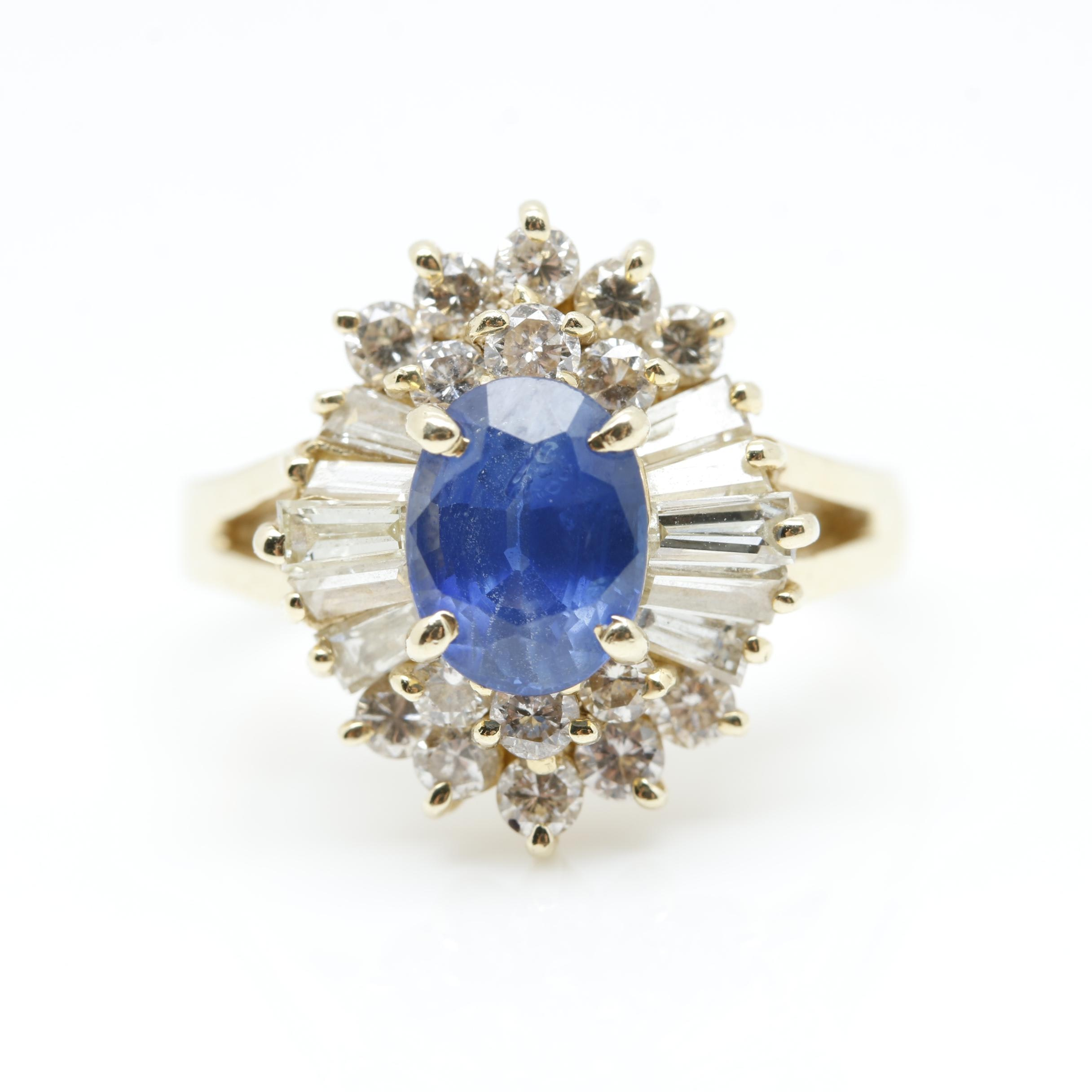 14K Yellow Gold 1.51 CT Sapphire and 1.30 CTW Diamond Ring
