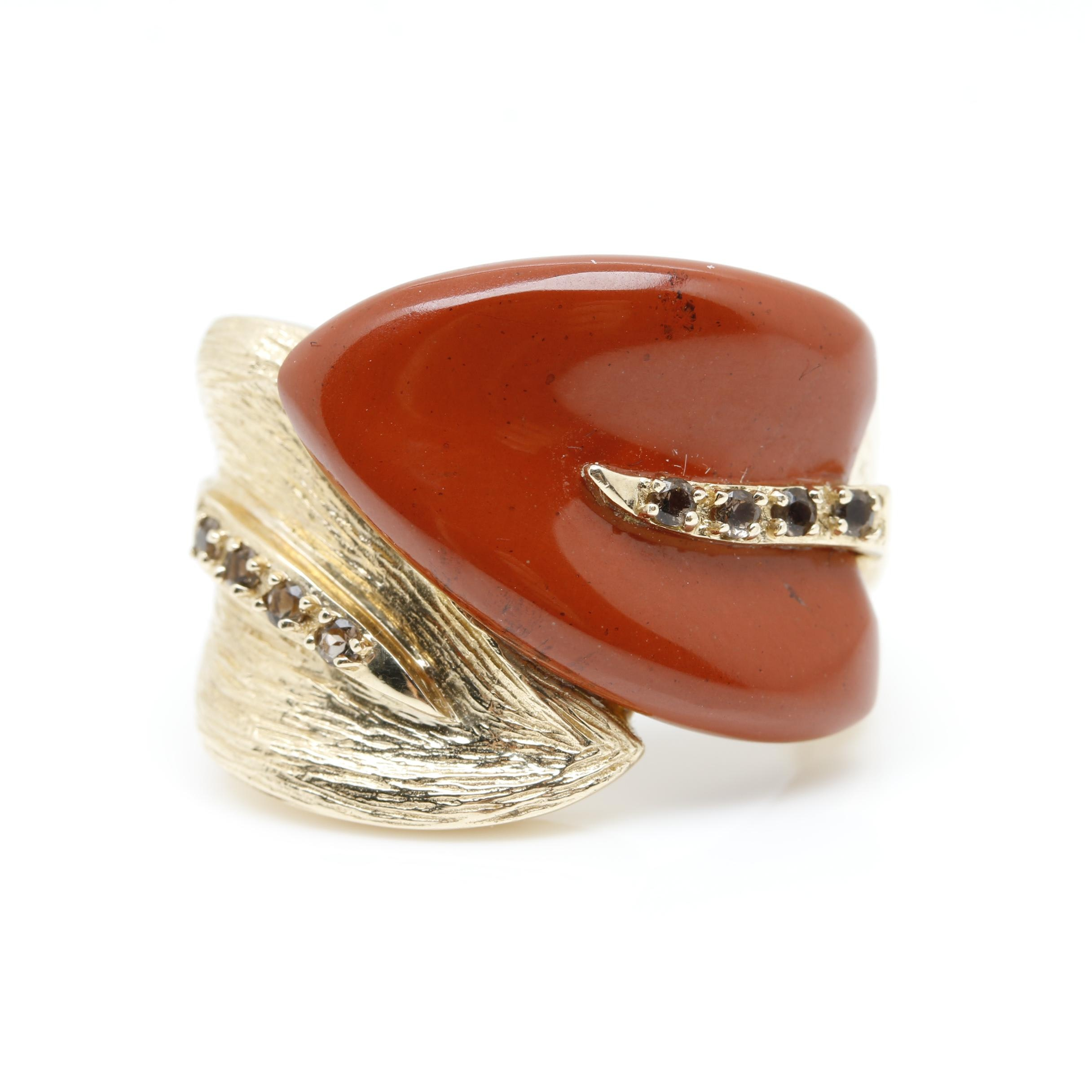 14K Yellow Gold Red Jasper and Smoky Quartz Ring