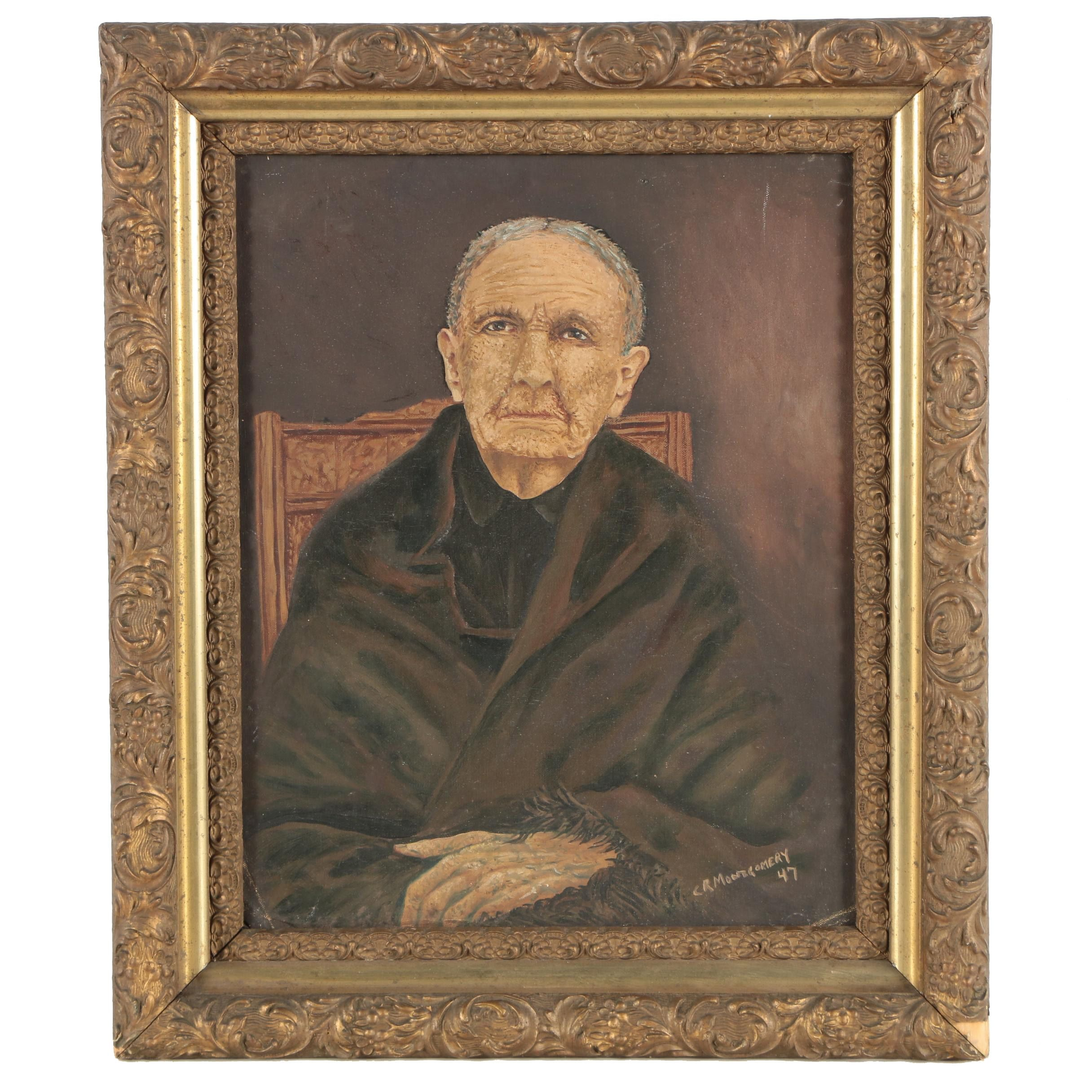 "Charles R. Montgomery 1947 Oil Painting ""Aunt Mary"""