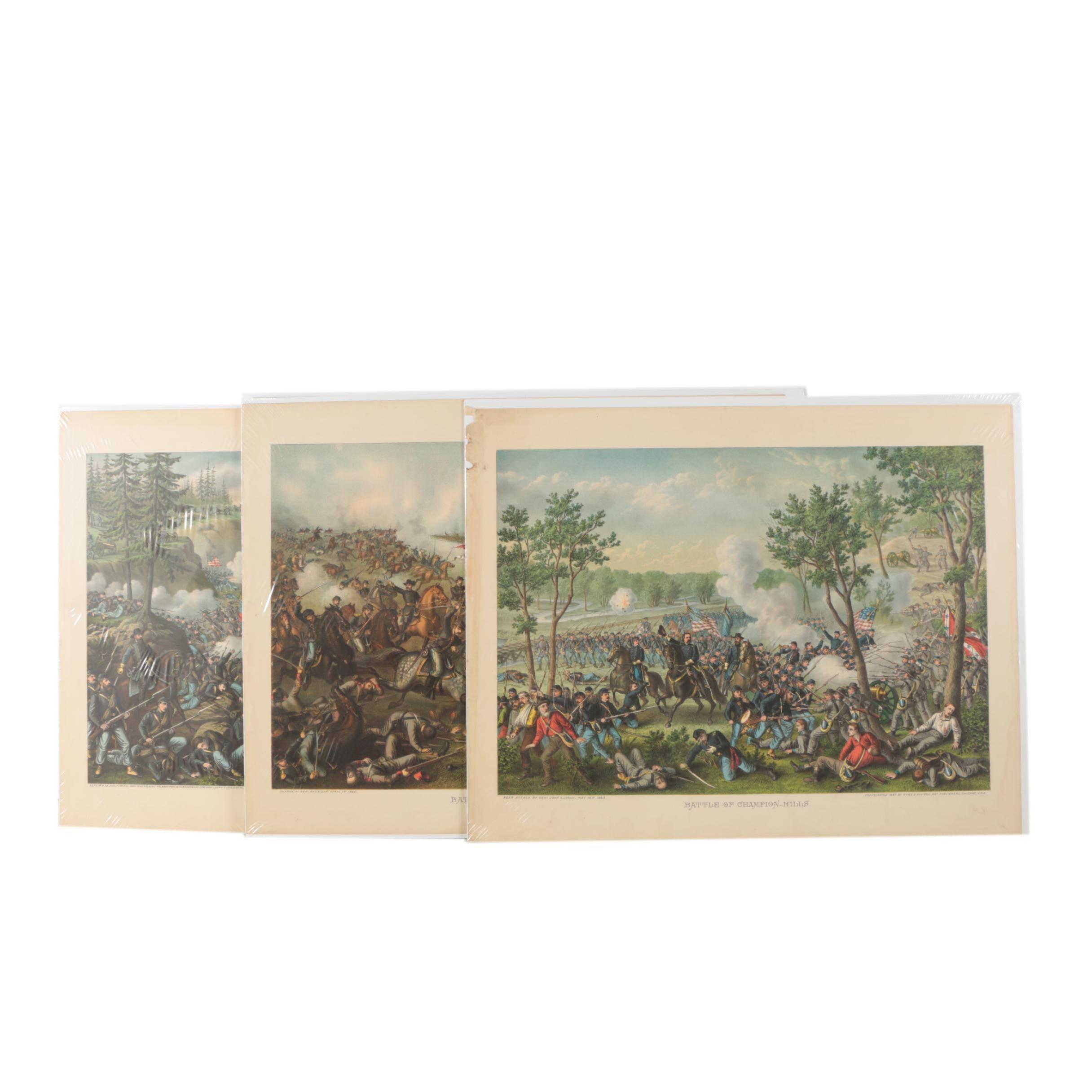 Antique Kurz and Allison Civil War Chromolithgraphs